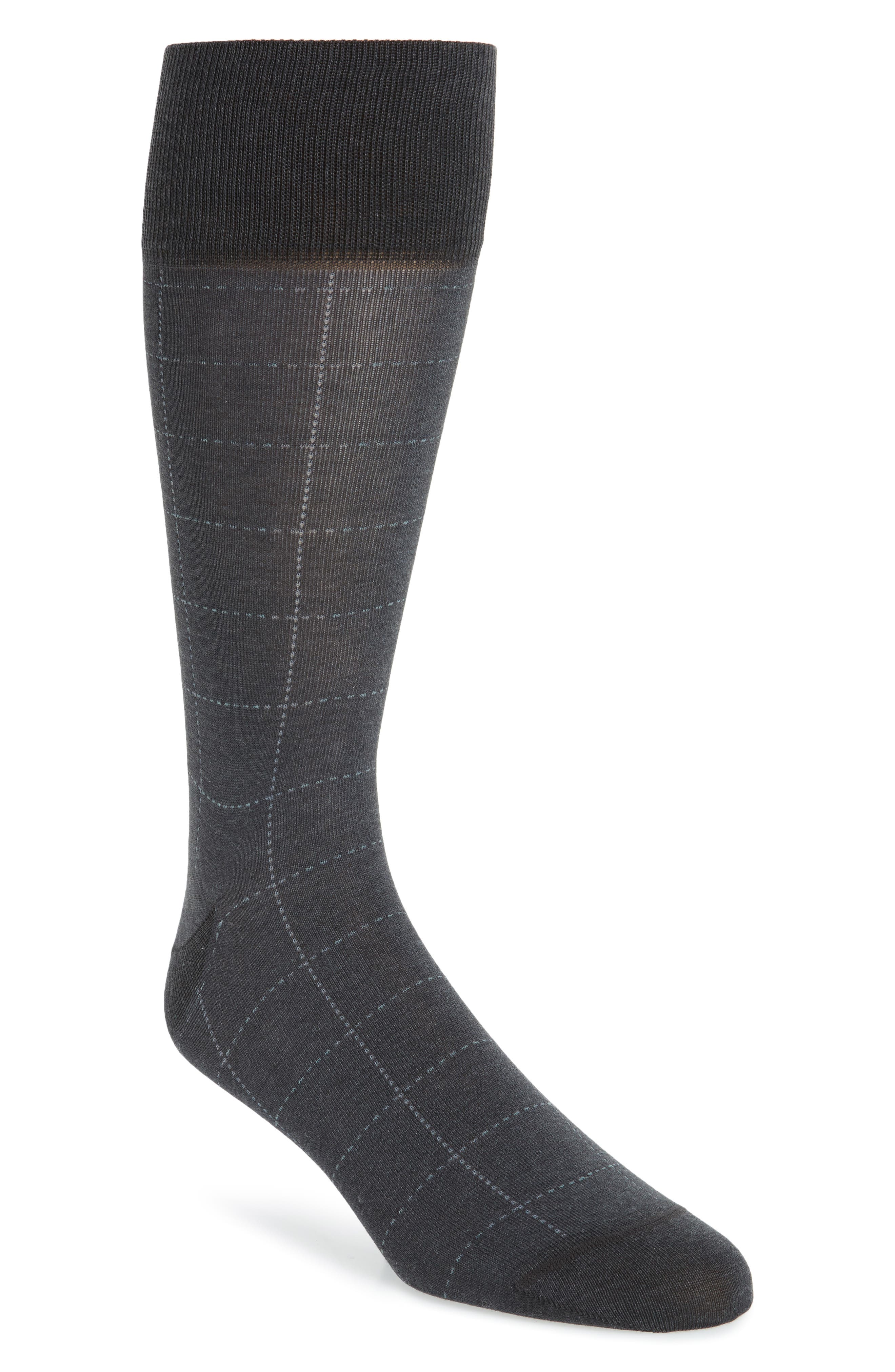 Broken Grid Socks,                         Main,                         color, Charcoal Heather