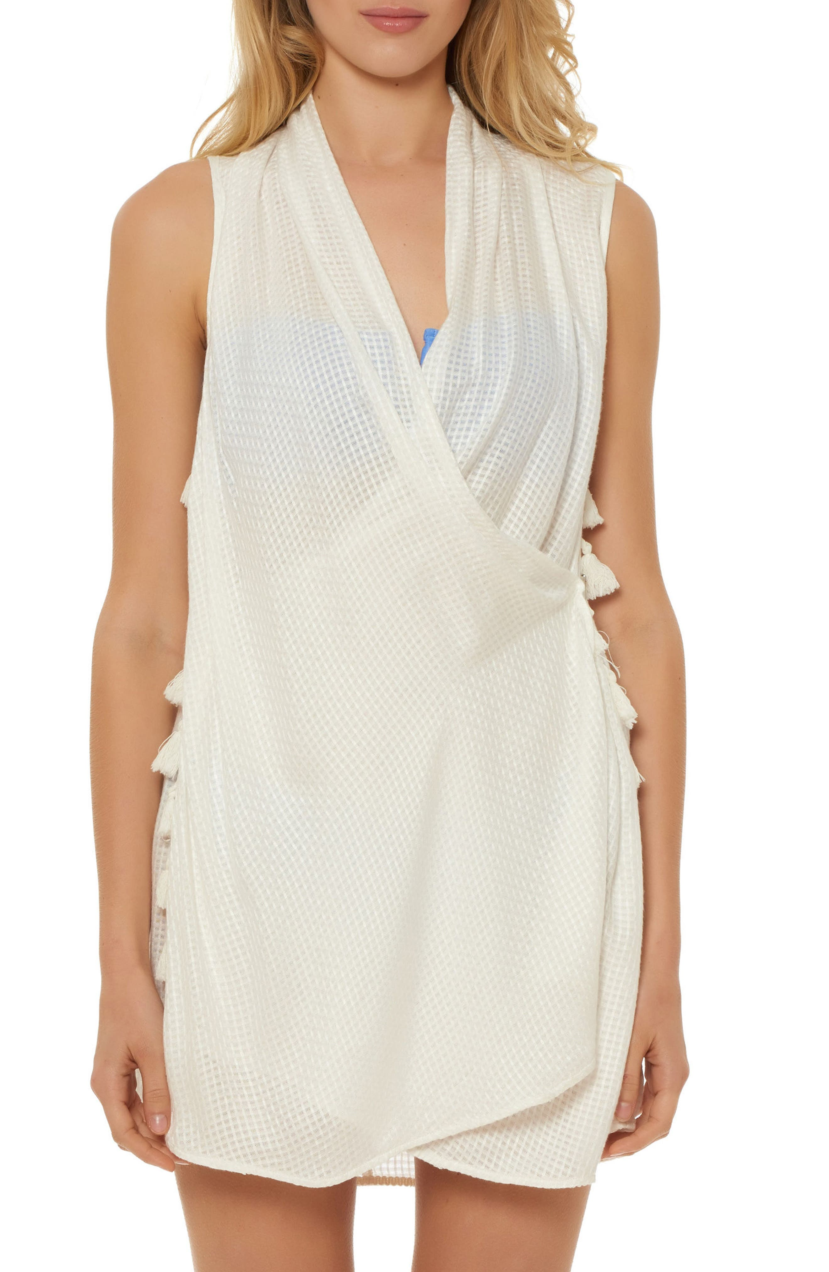 Wrap Cover-Up Dress,                             Main thumbnail 1, color,                             White