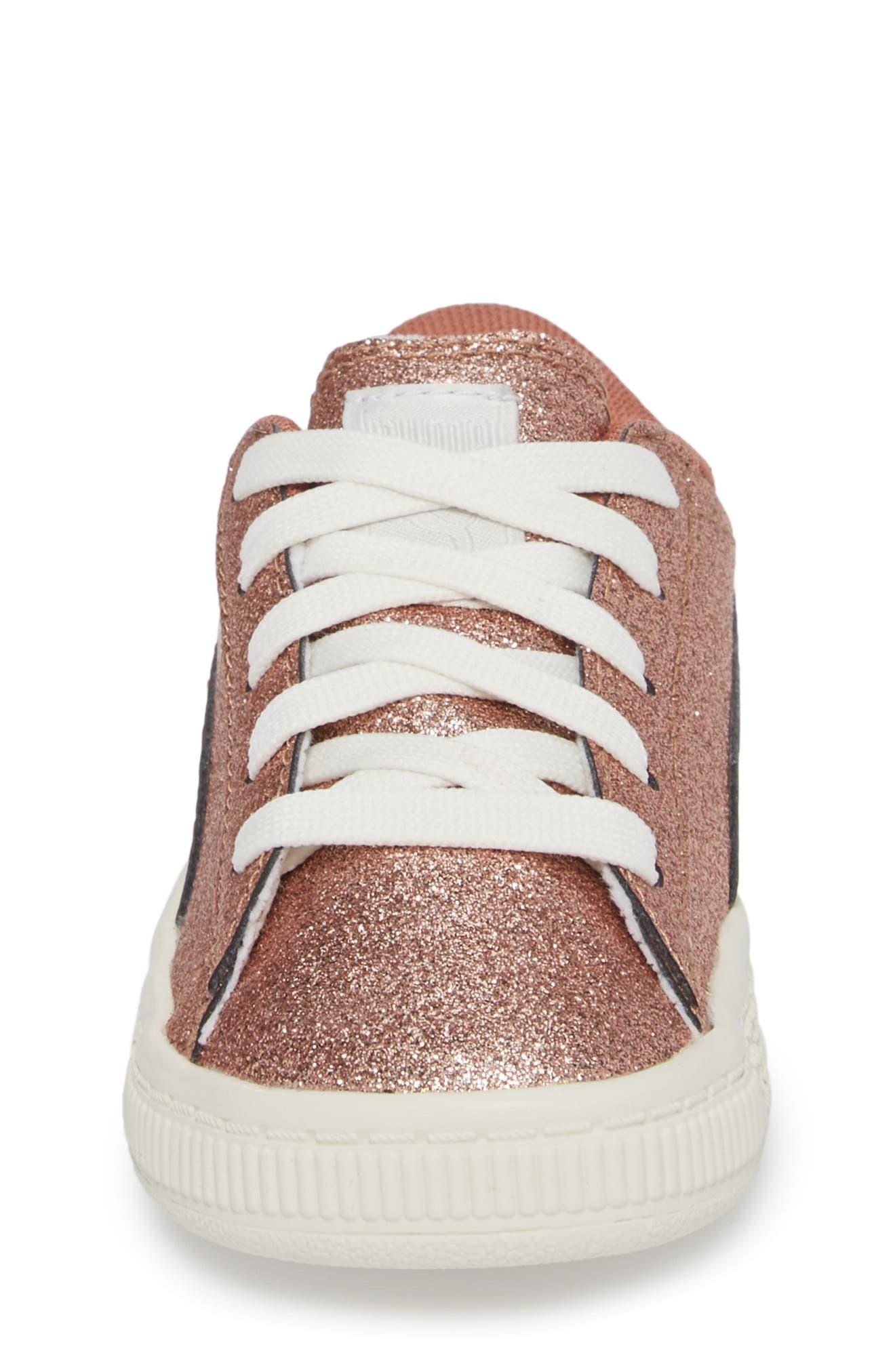 Basket Holiday Glitz Jr. Sneaker,                             Alternate thumbnail 4, color,                             Copper Rose