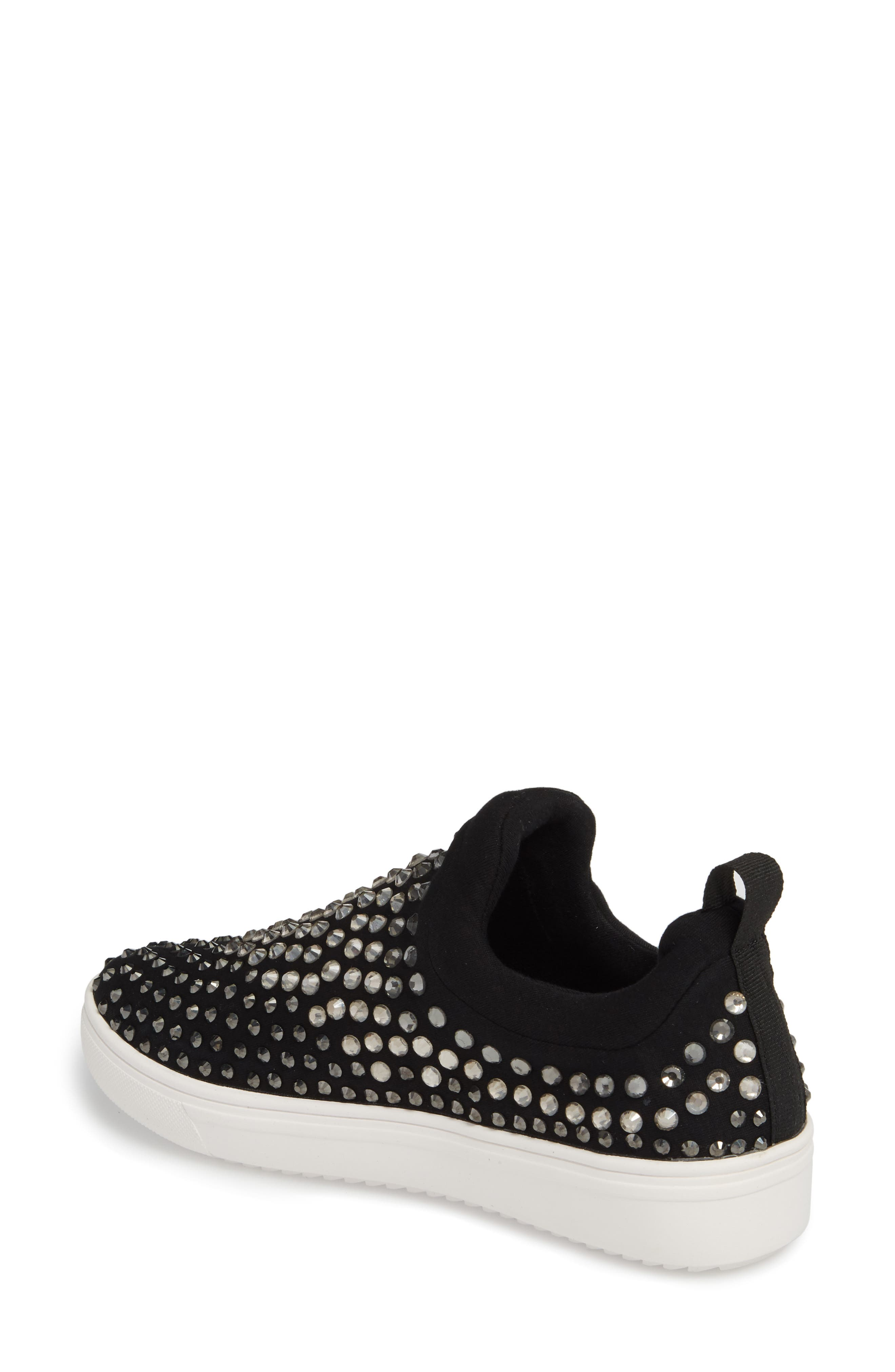 Sherry Crystal Embellished Sneaker,                             Alternate thumbnail 2, color,                             Black Multi Fabric