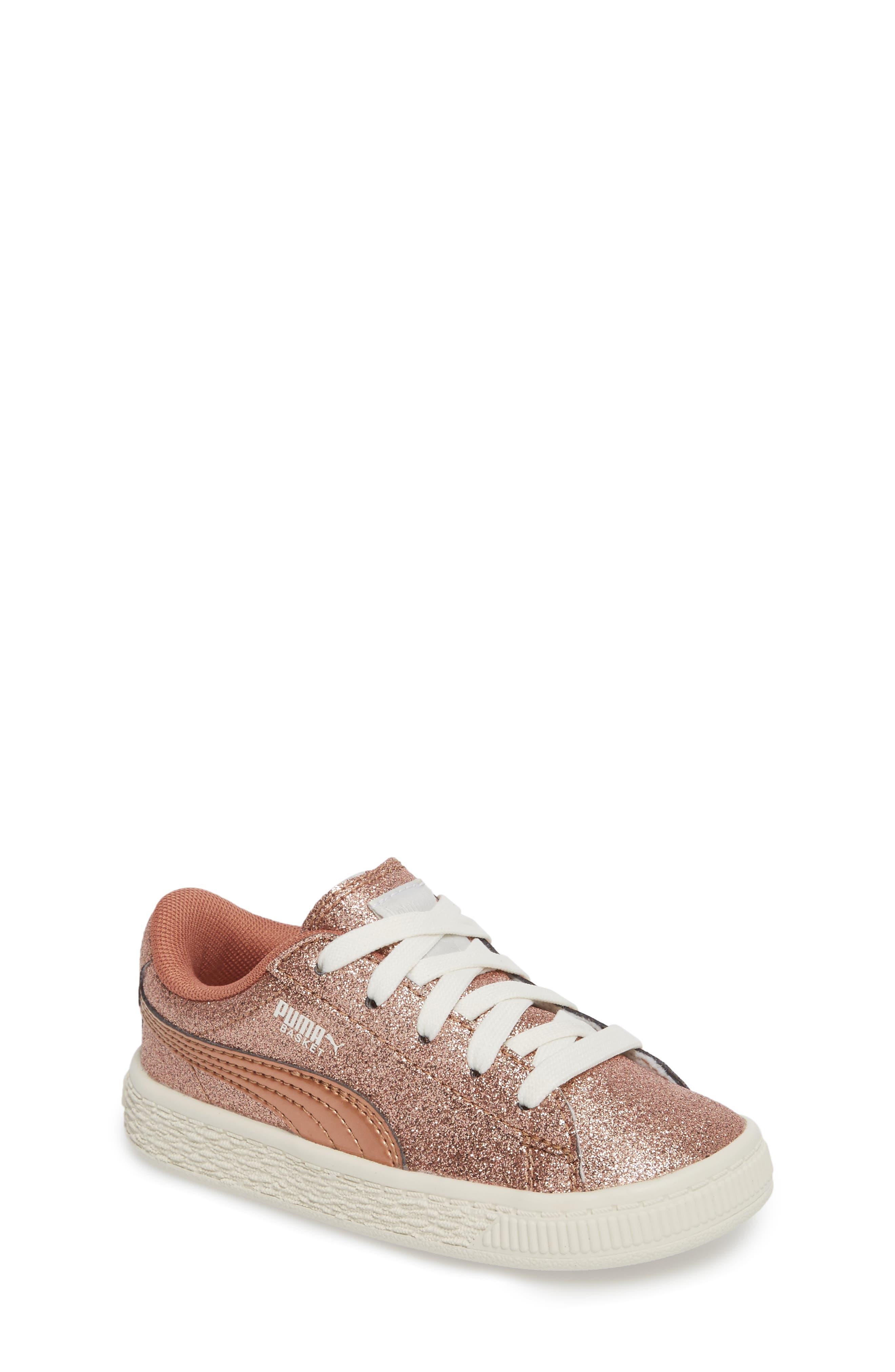 Basket Holiday Glitz Jr. Sneaker,                         Main,                         color, Copper Rose