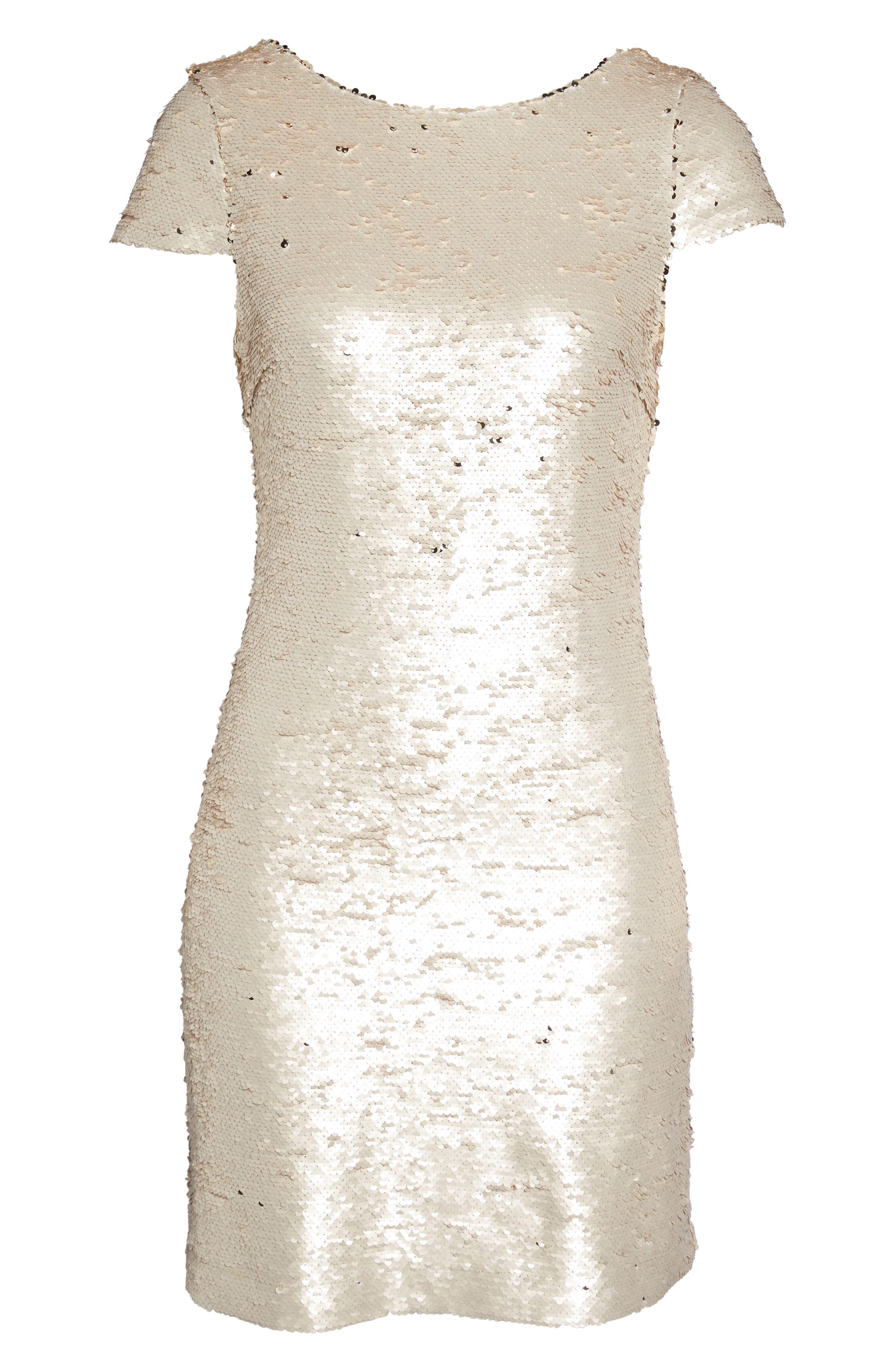 Sequin Sheath Dress,                             Alternate thumbnail 6, color,                             Champagne