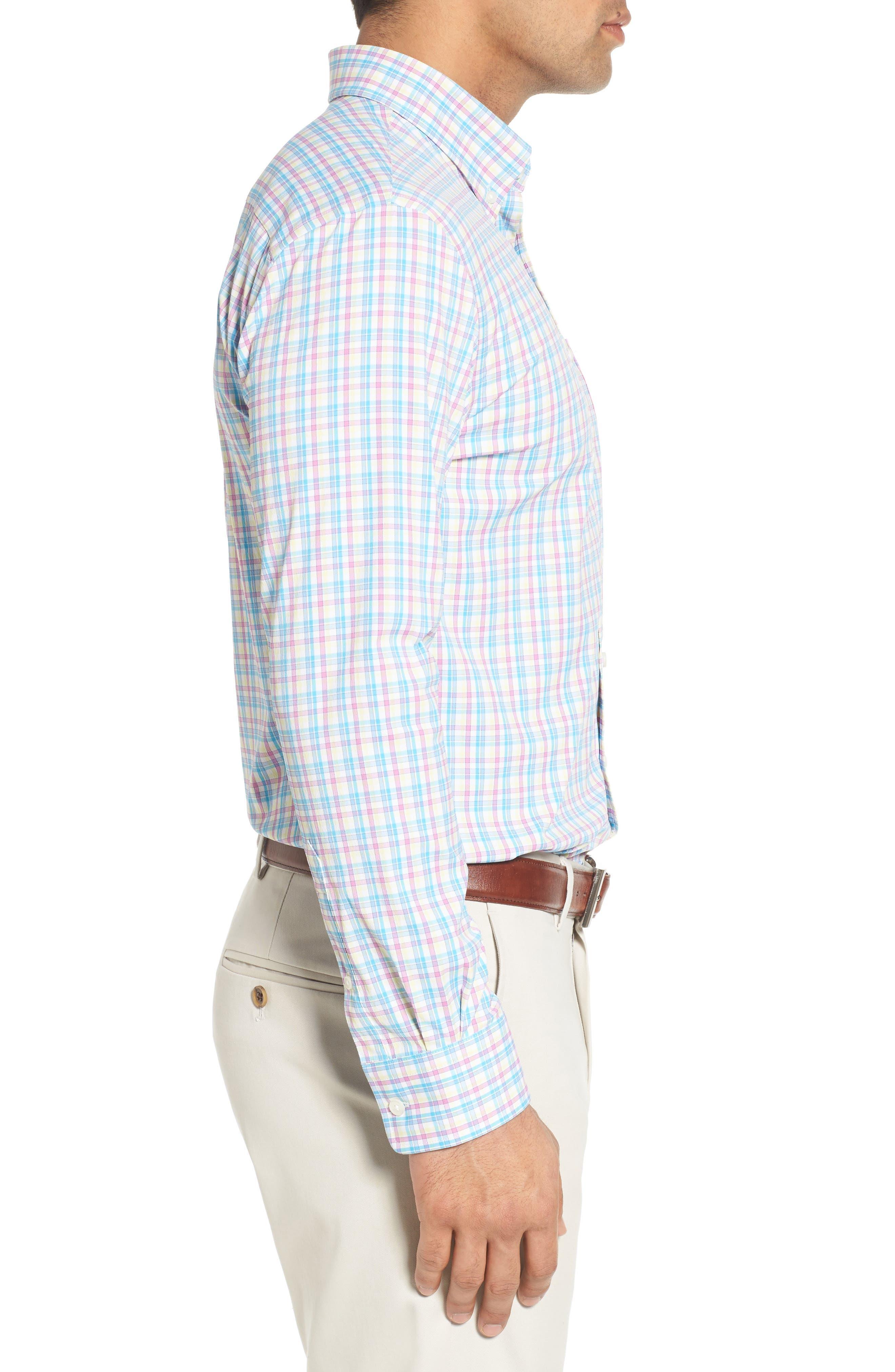Dorian Plaid Easy Care Sport Shirt,                             Alternate thumbnail 3, color,                             White