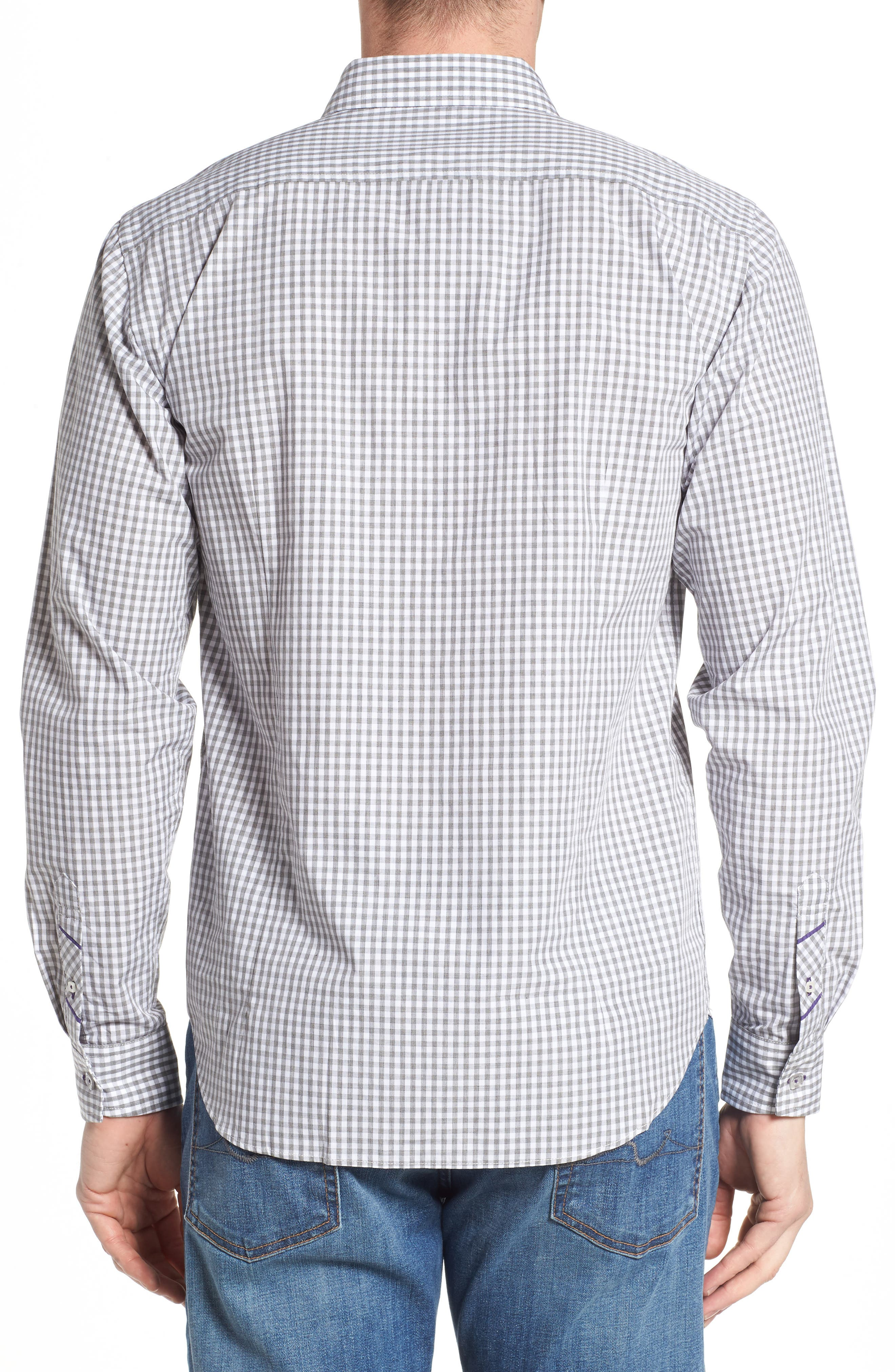 Fitted Check Sport Shirt,                             Alternate thumbnail 3, color,                             Medium Grey
