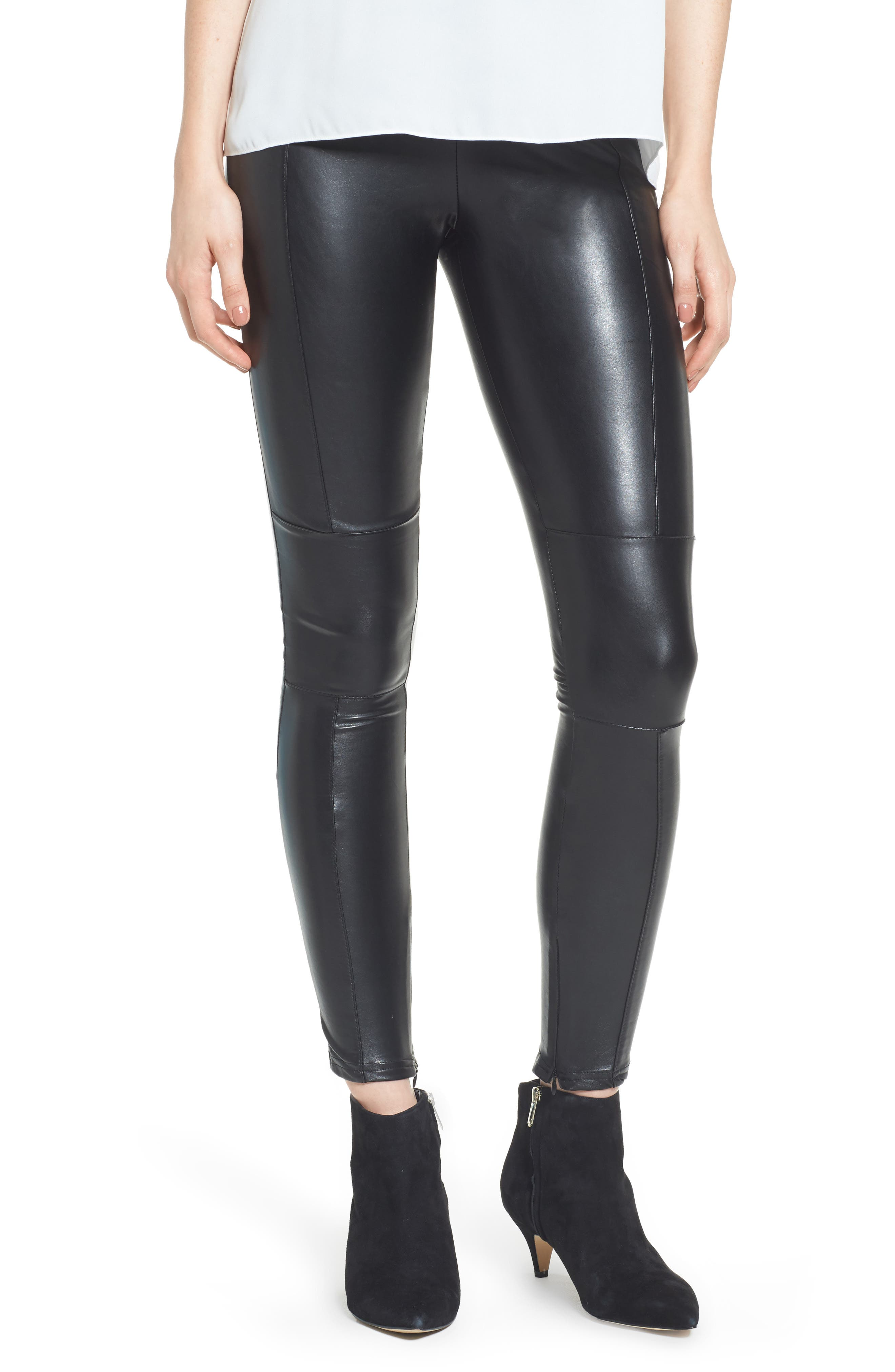 Bishop + Young Faux Leather Ankle Leggings,                             Main thumbnail 1, color,                             Black
