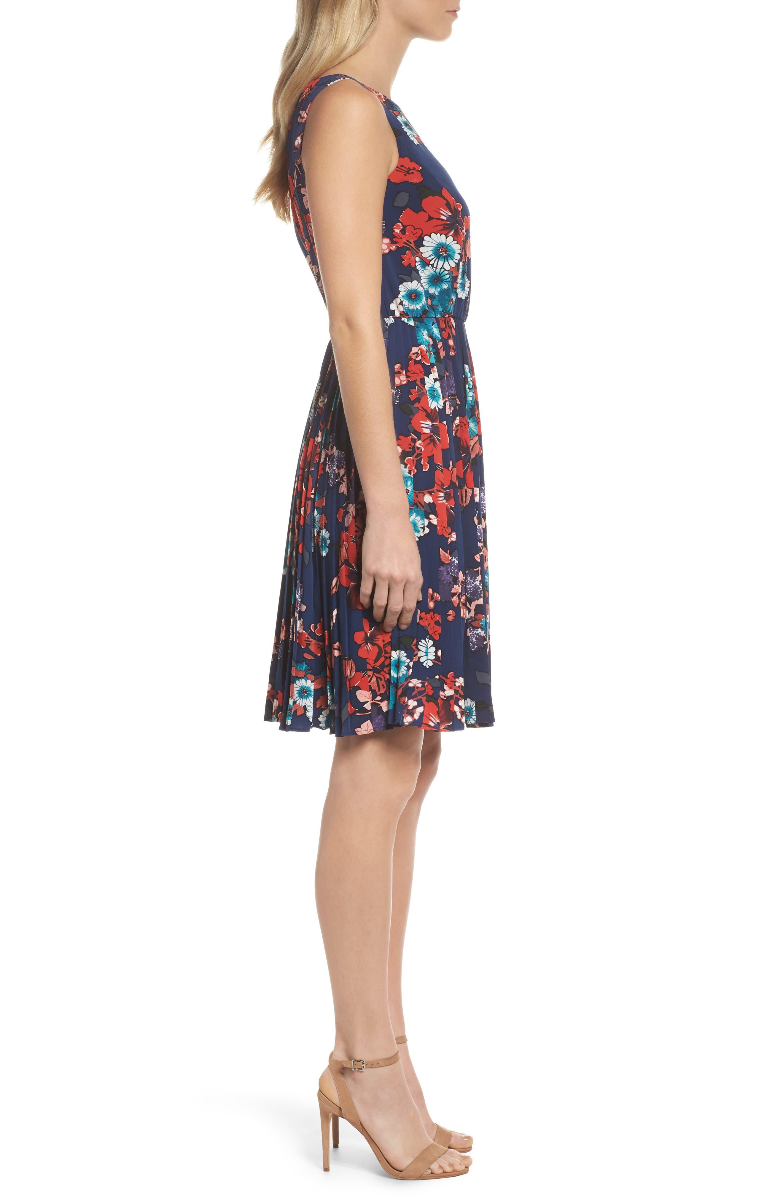 Botanical Soiree Fit & Flare Dress,                             Alternate thumbnail 3, color,                             Blue Multi