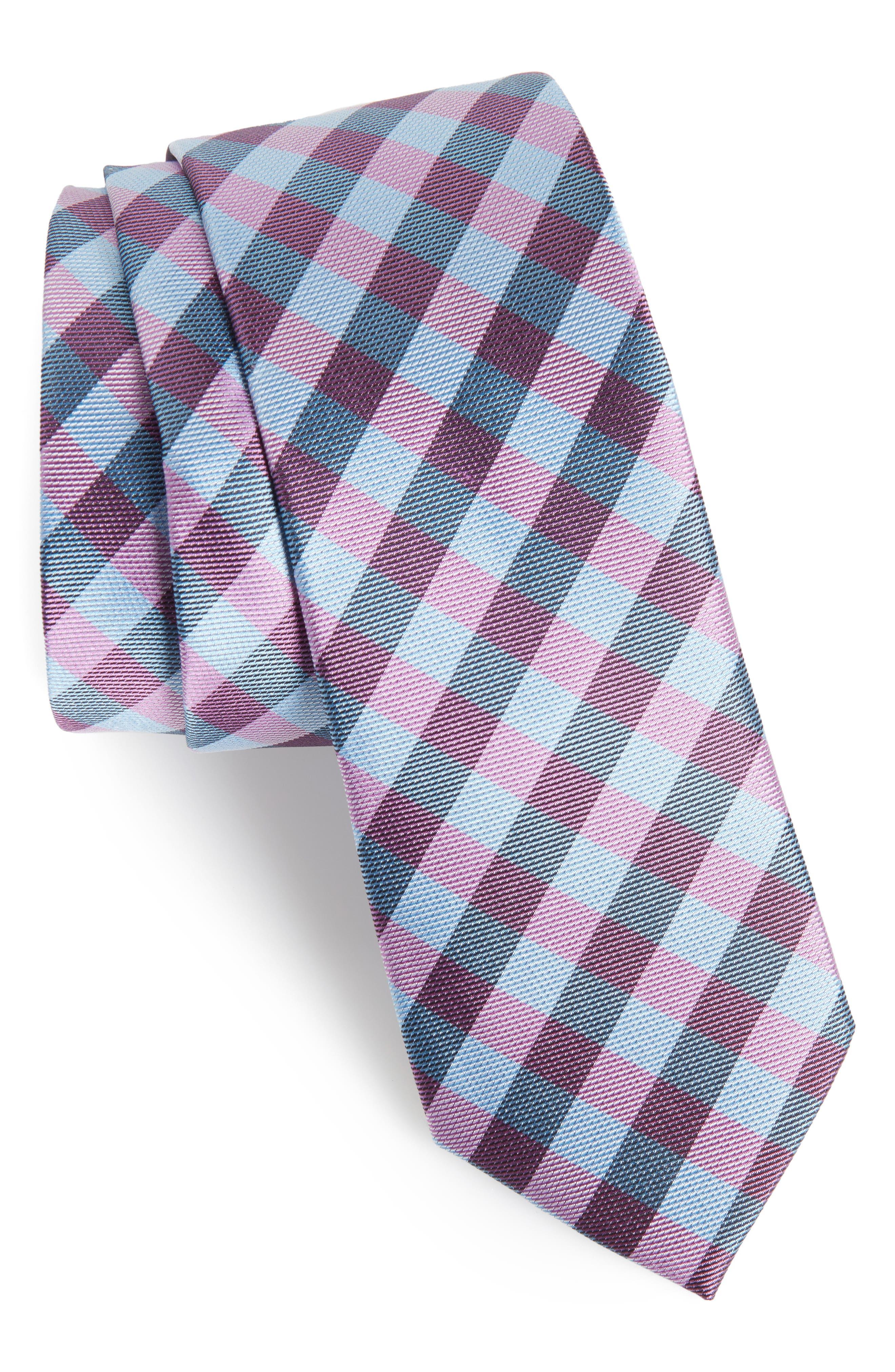 Welker Check Silk Skinny Tie,                         Main,                         color, Blue