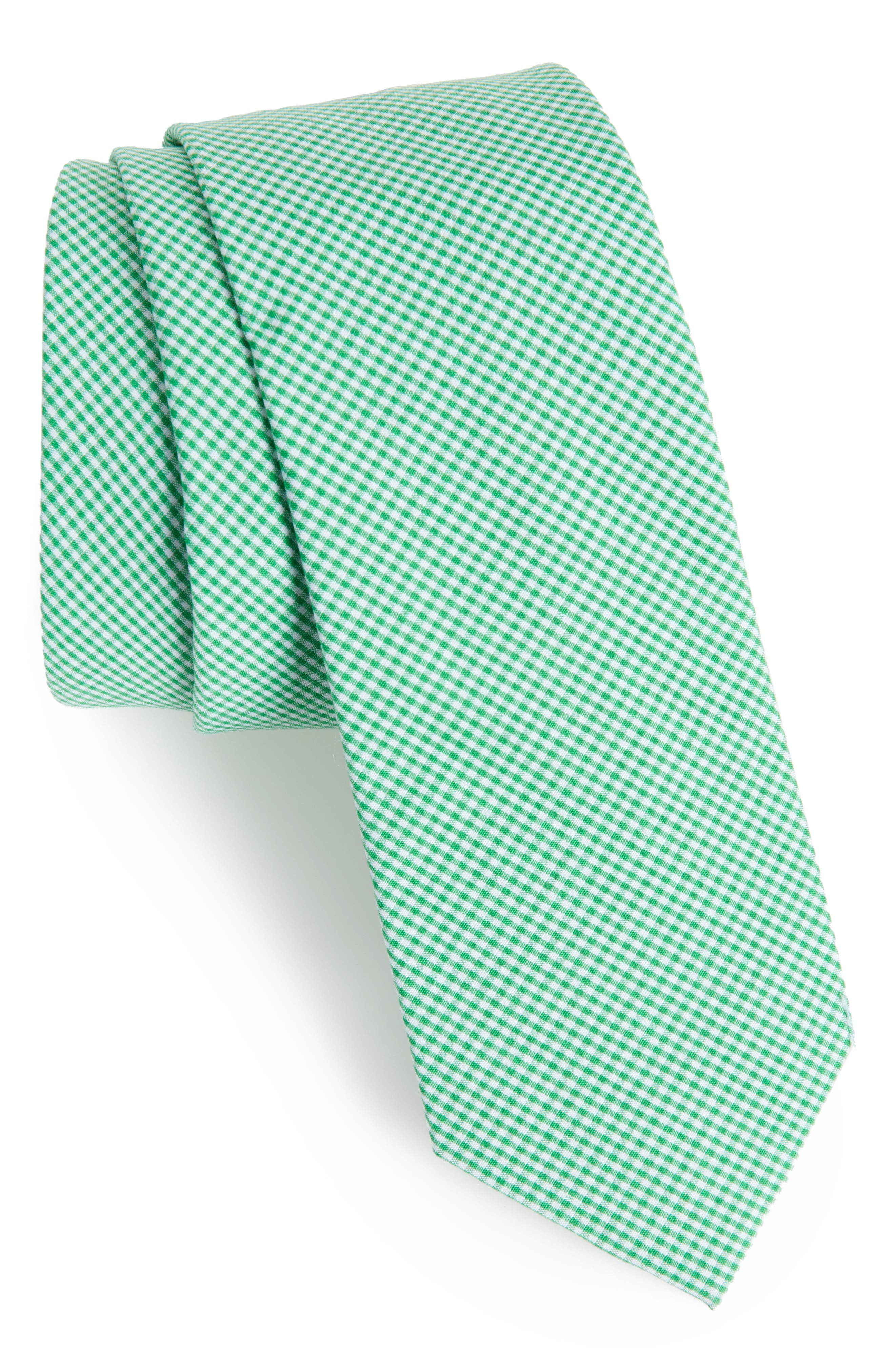 Check Cotton Tie,                         Main,                         color, Lime