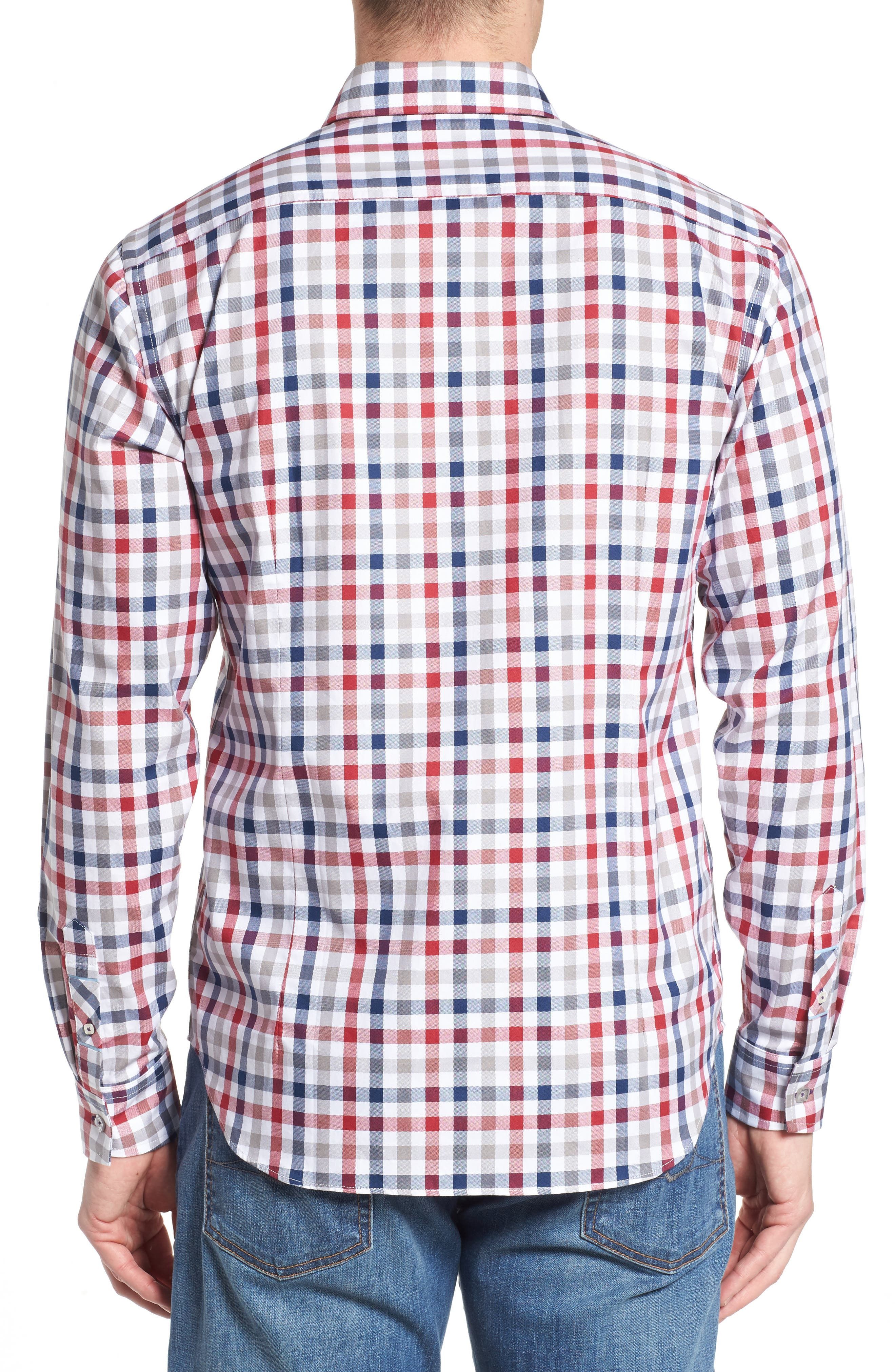 Fitted Check Sport Shirt,                             Alternate thumbnail 2, color,                             Medium Red