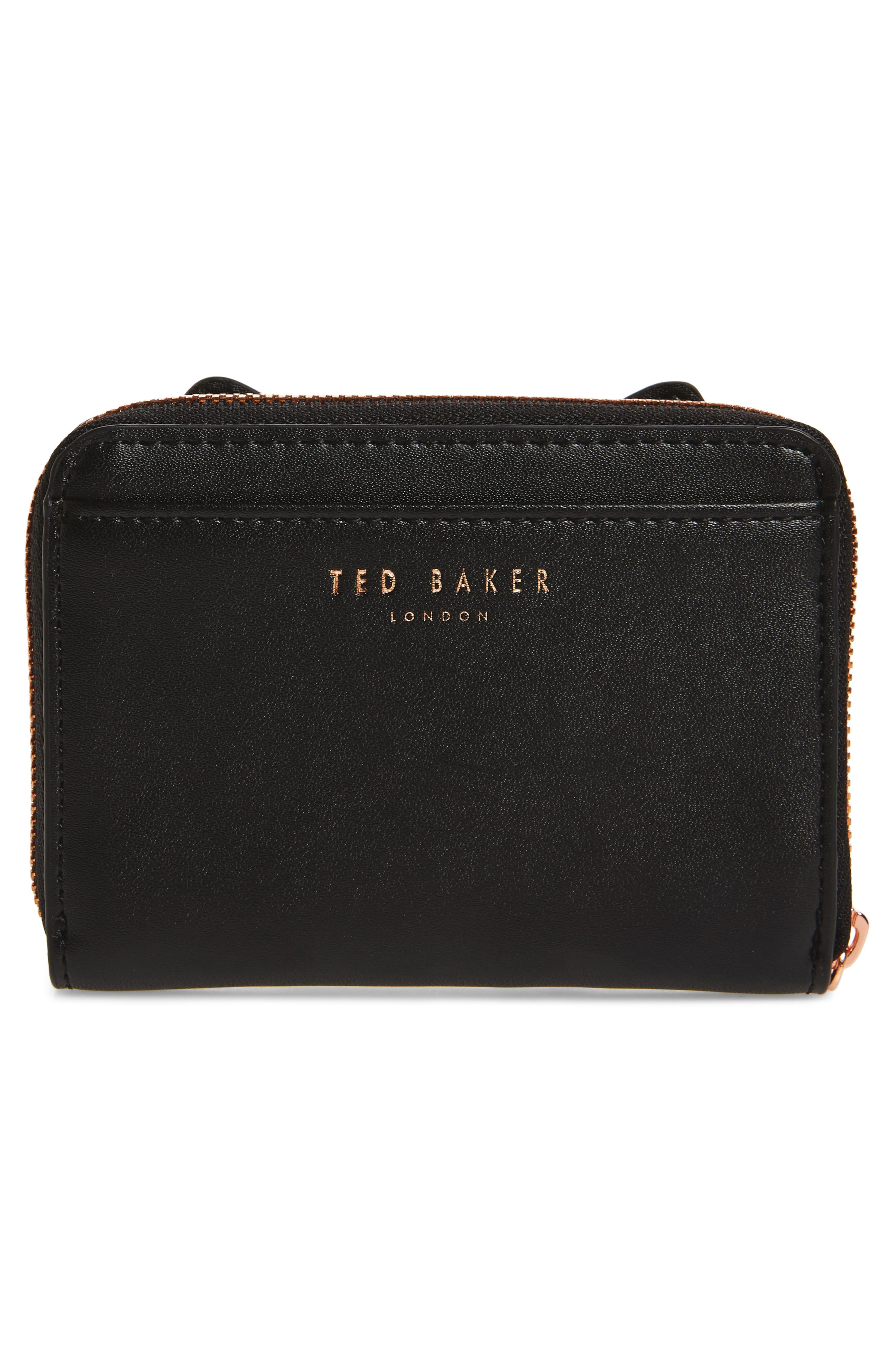 Zip Around Leather Wallet,                             Alternate thumbnail 4, color,                             Black