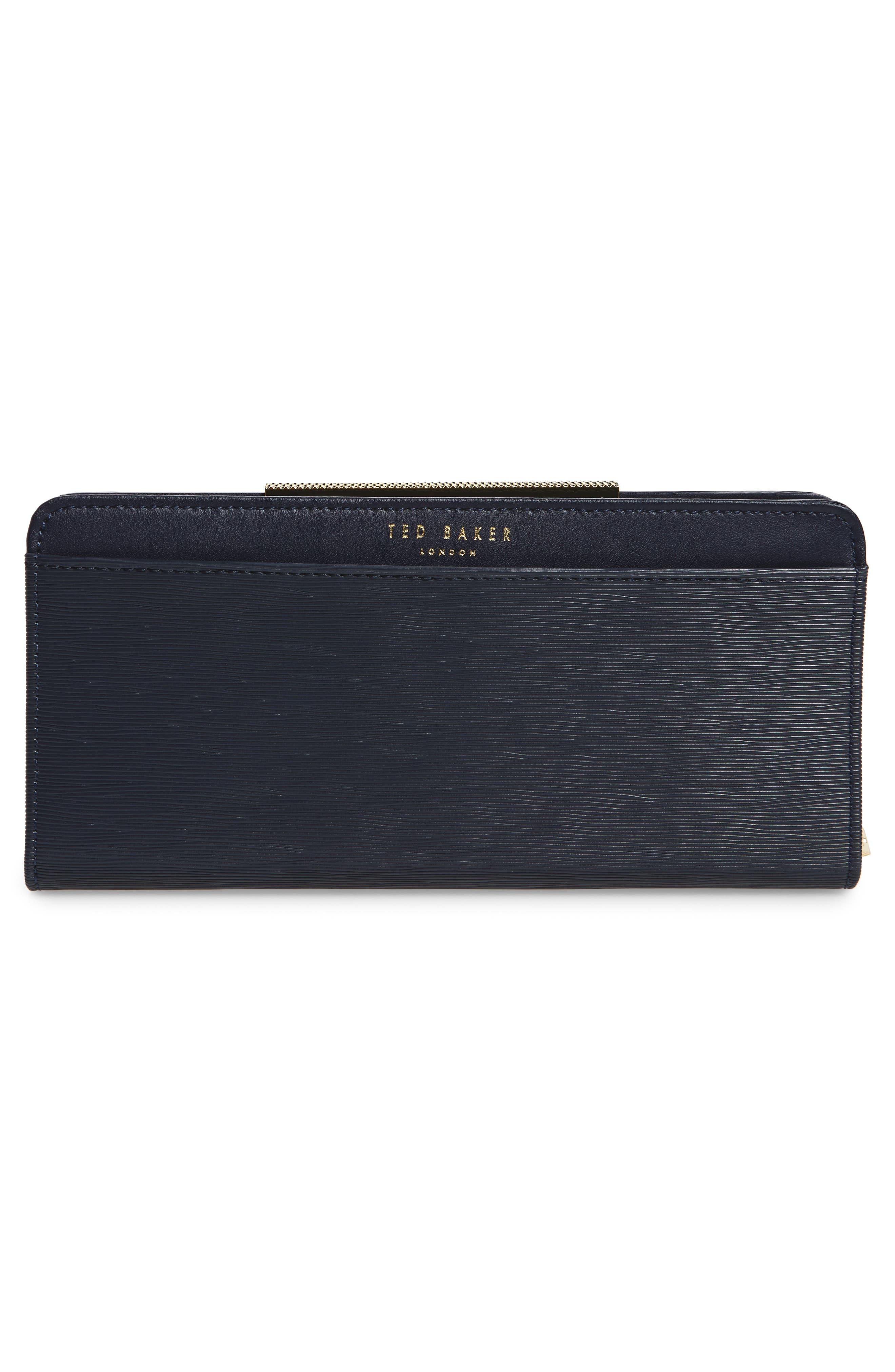 Marya Plissé Leather Matinee Wallet,                             Alternate thumbnail 3, color,                             Dark Blue