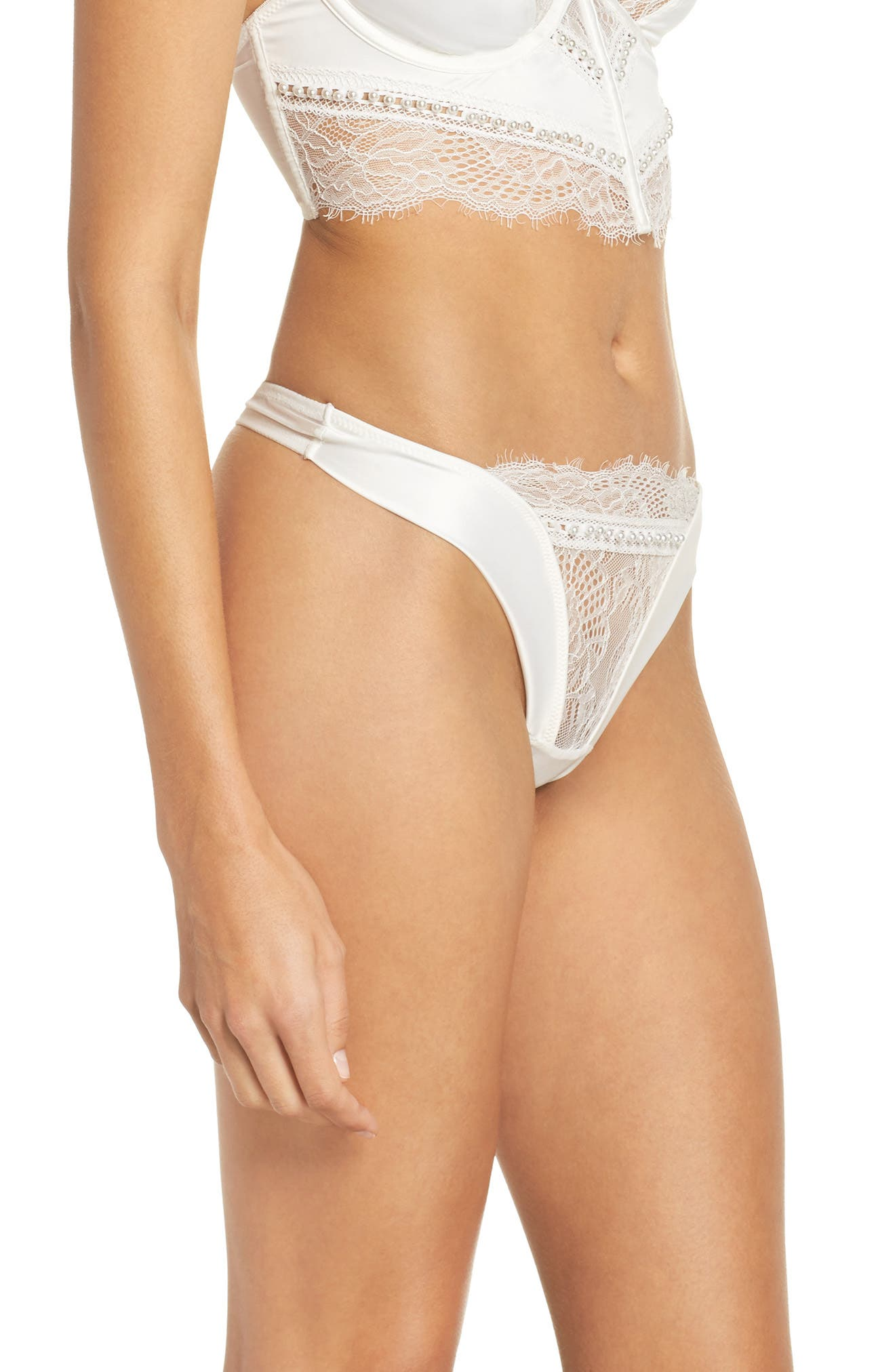 Thistle & Spire Sterling Embellished Lace Thong,                             Alternate thumbnail 3, color,                             Ivory