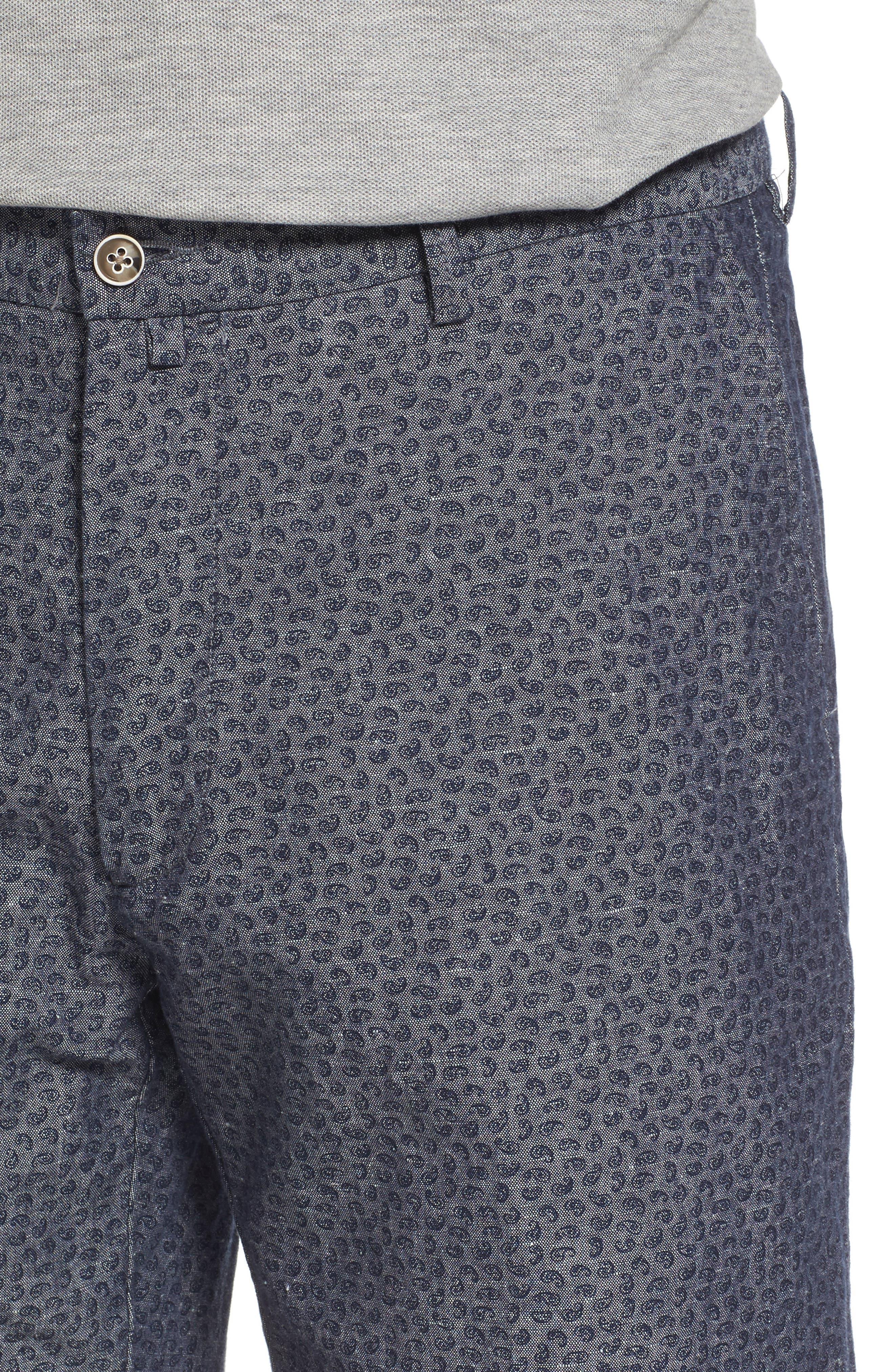 Paisley Chambray Flat Front Shorts,                             Alternate thumbnail 4, color,                             Dark Grey