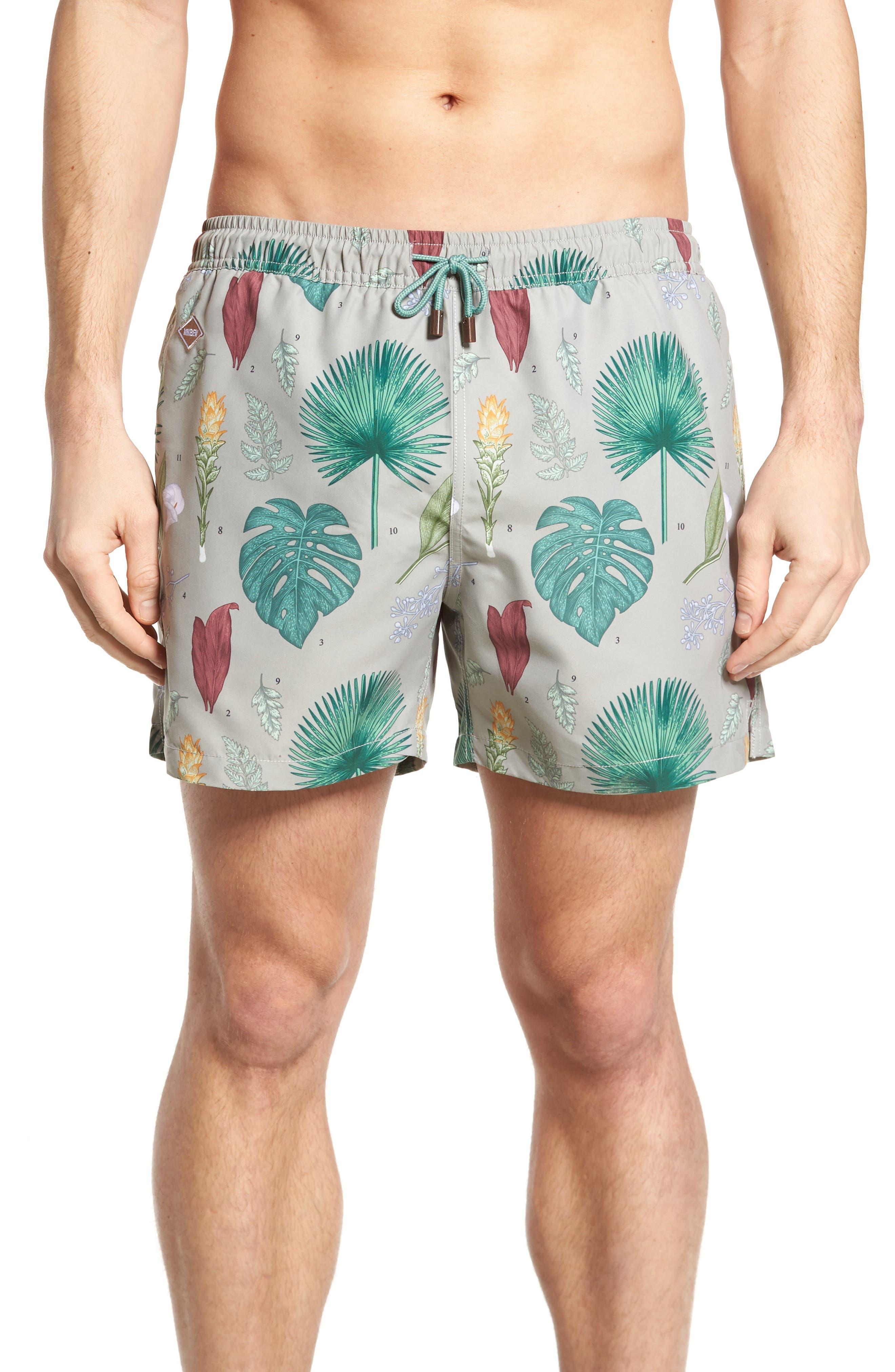 Flower Power Slim Fit Swim Trunks,                         Main,                         color, Green
