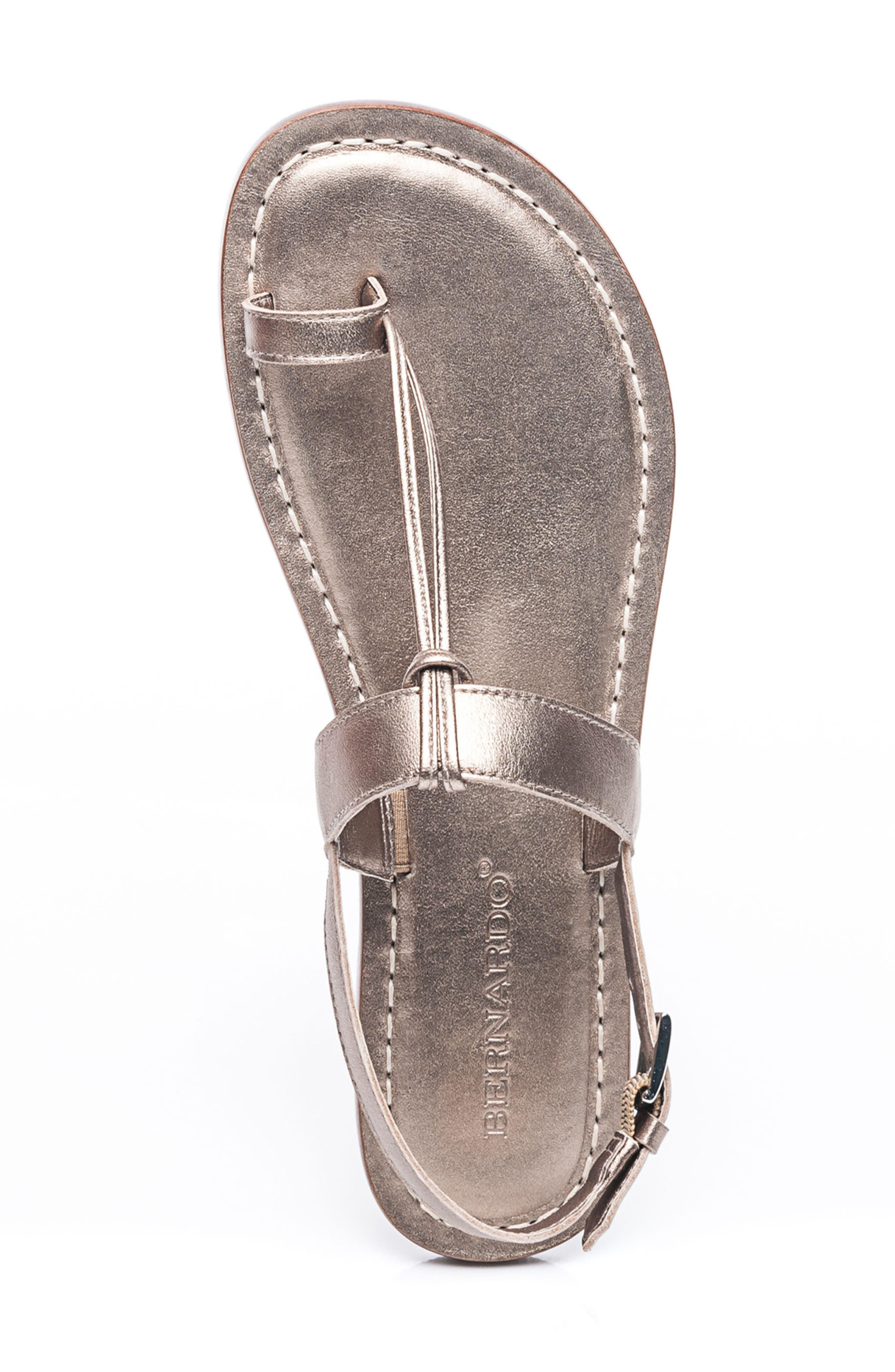 Bernardo Maverick Leather Sandal,                             Alternate thumbnail 5, color,                             Platinum Leather
