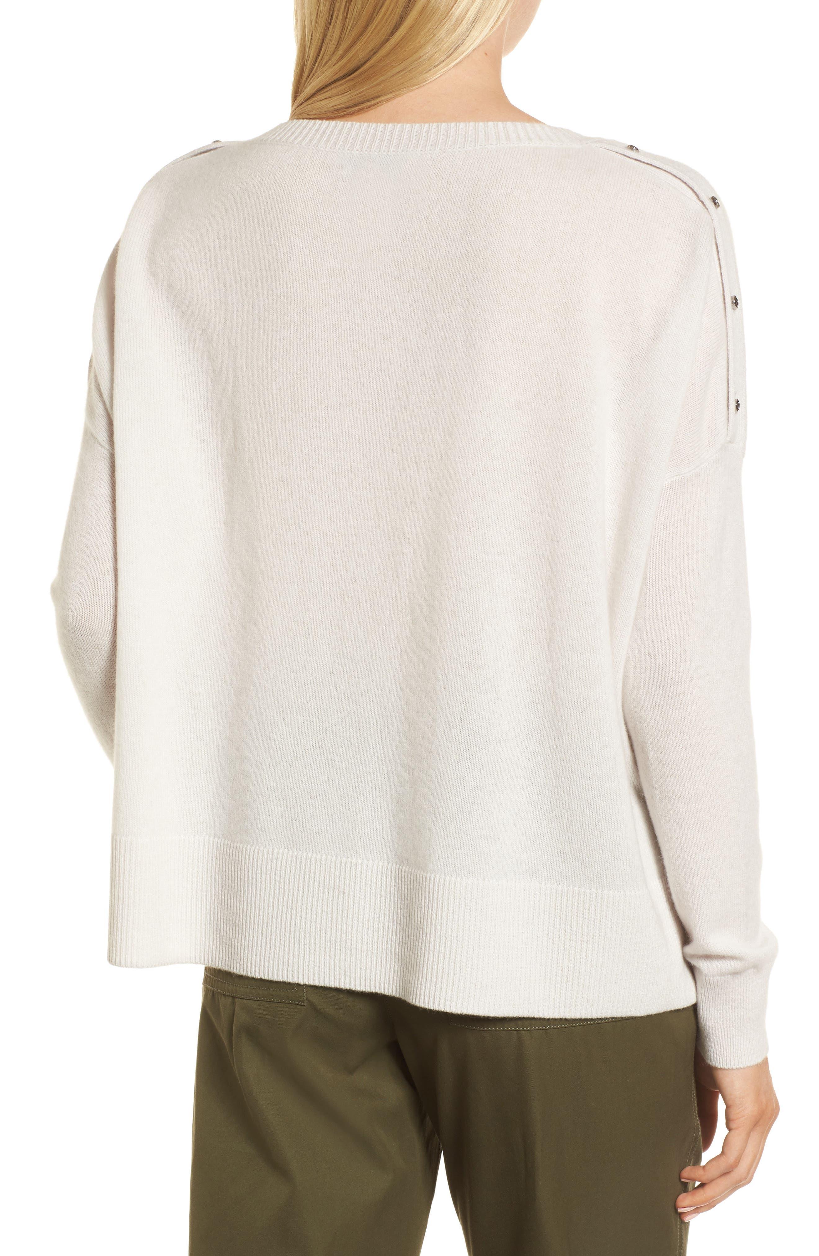 Button Detail Cashmere Sweater,                             Alternate thumbnail 2, color,                             Beige Pumice