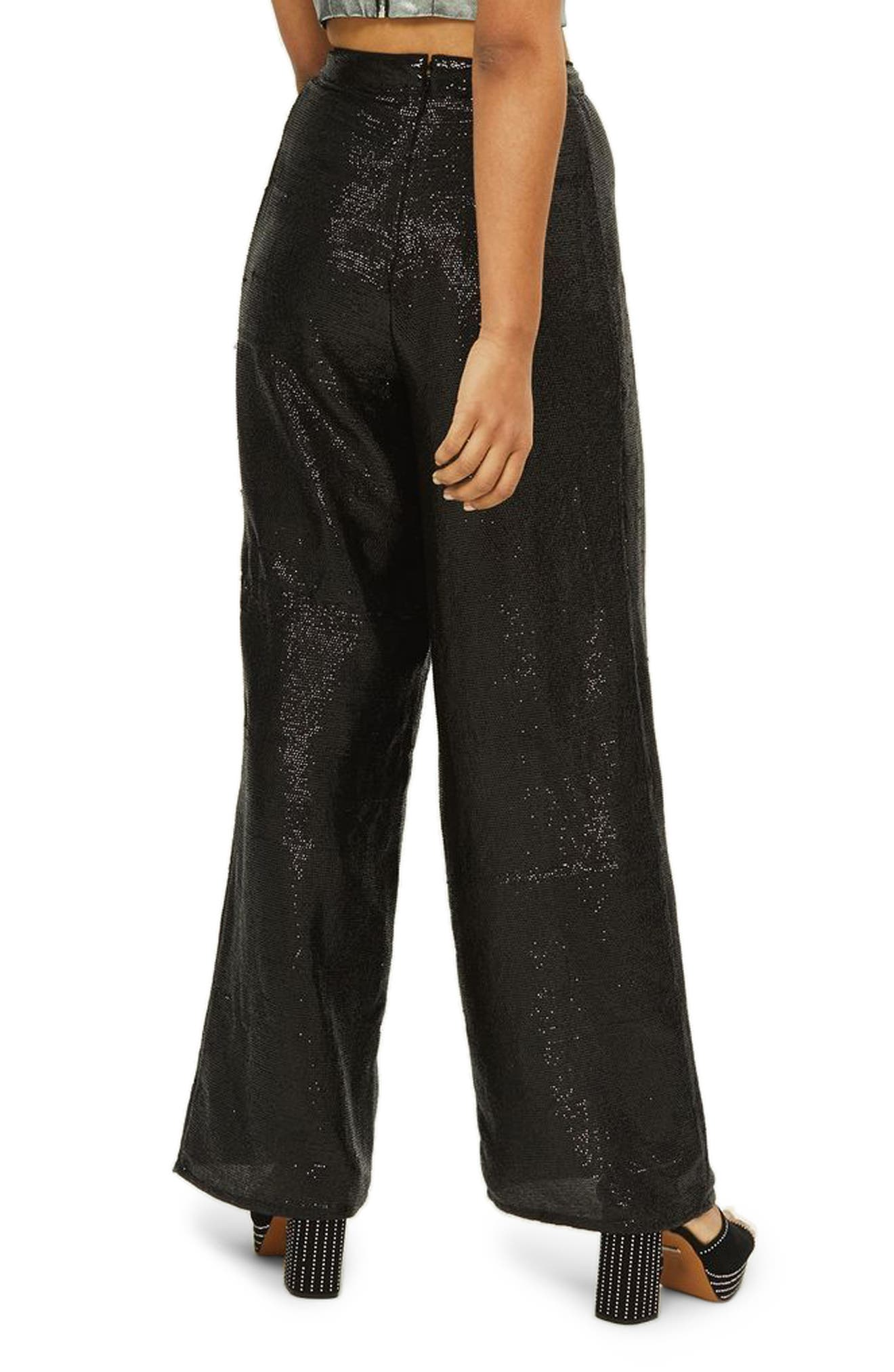 Premium Sequin Wide Leg Trousers,                             Alternate thumbnail 3, color,                             Black