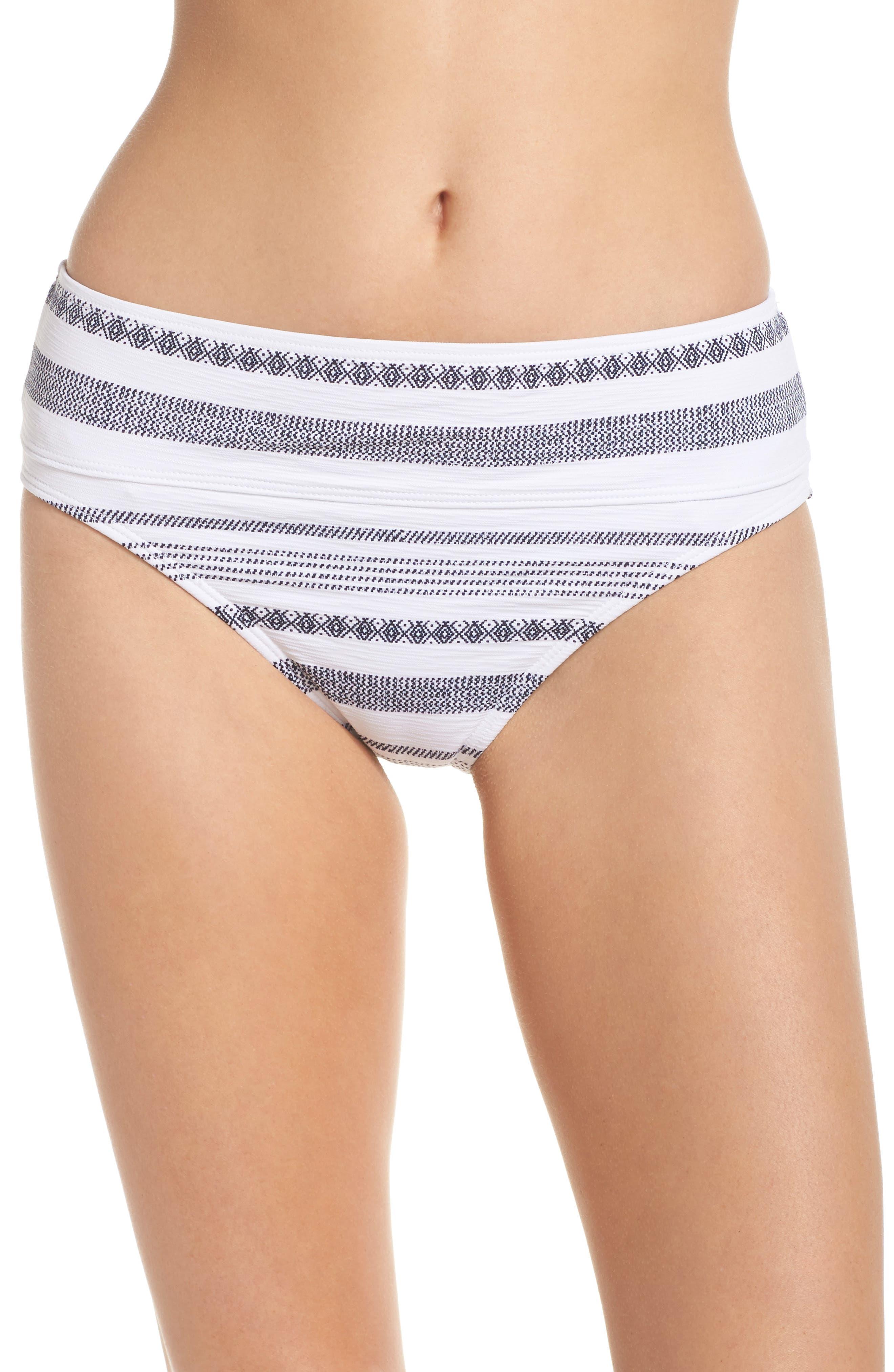 Sand Bar High Waist Bikini Bottoms,                         Main,                         color, White