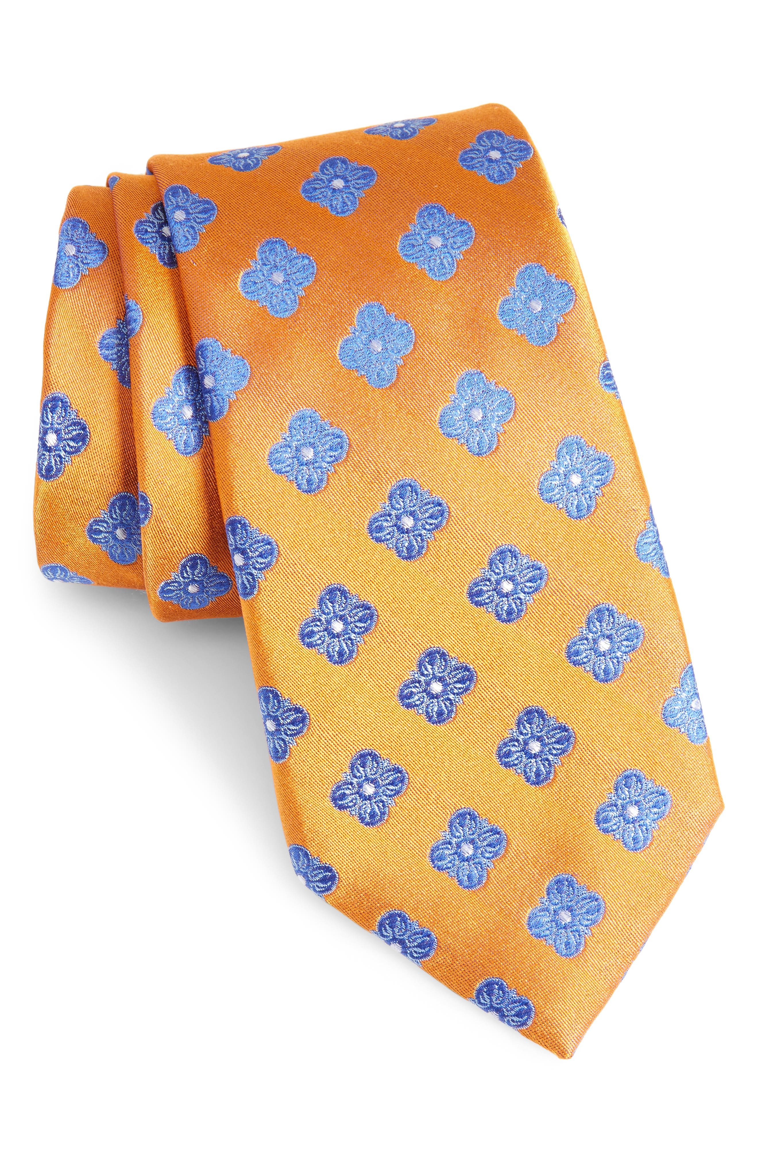 Cameron Floral Medallion Silk Tie,                             Main thumbnail 1, color,                             Orange