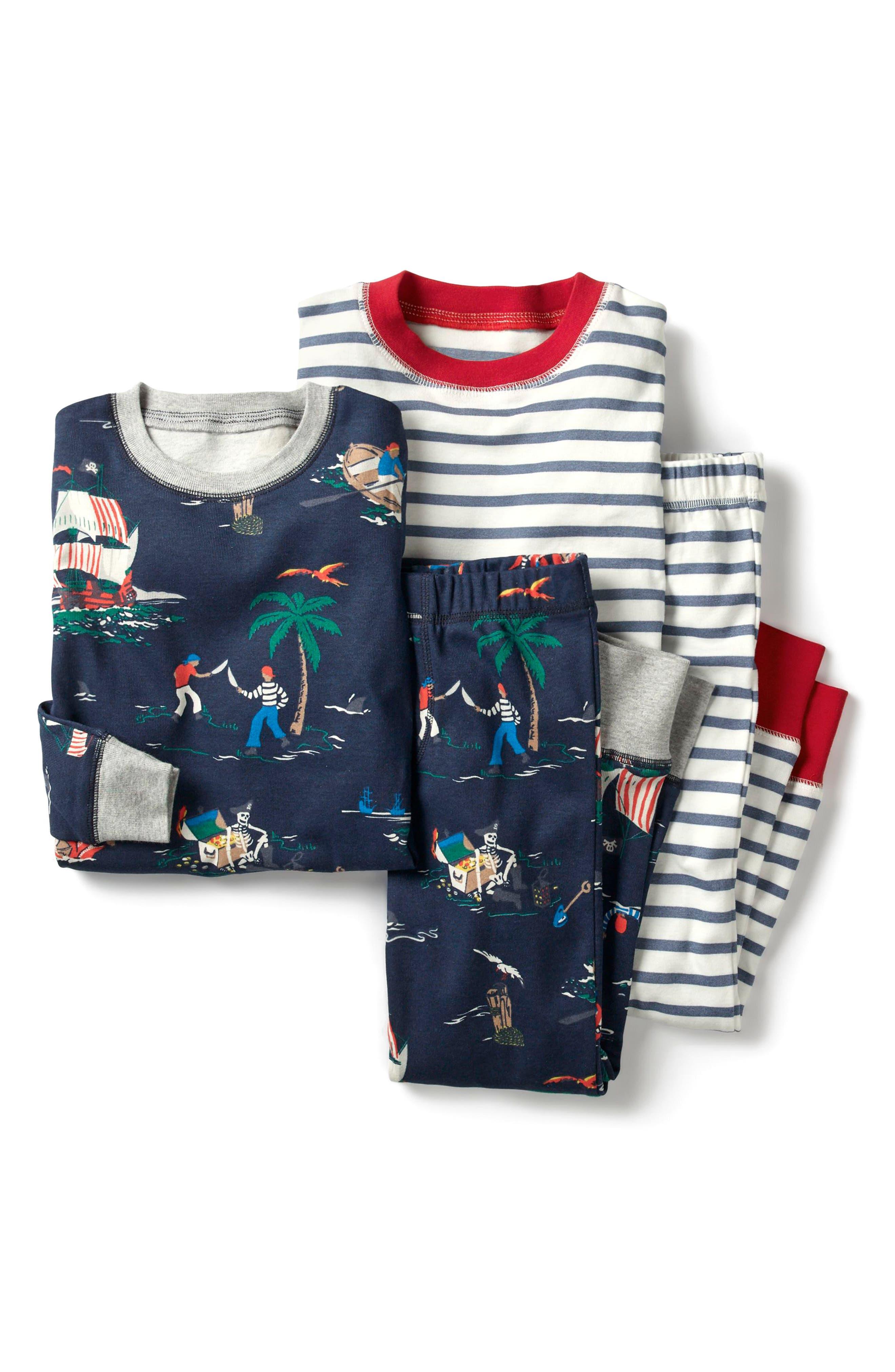 2-Pack Two-Piece Pajamas,                         Main,                         color, School Navy Pirates