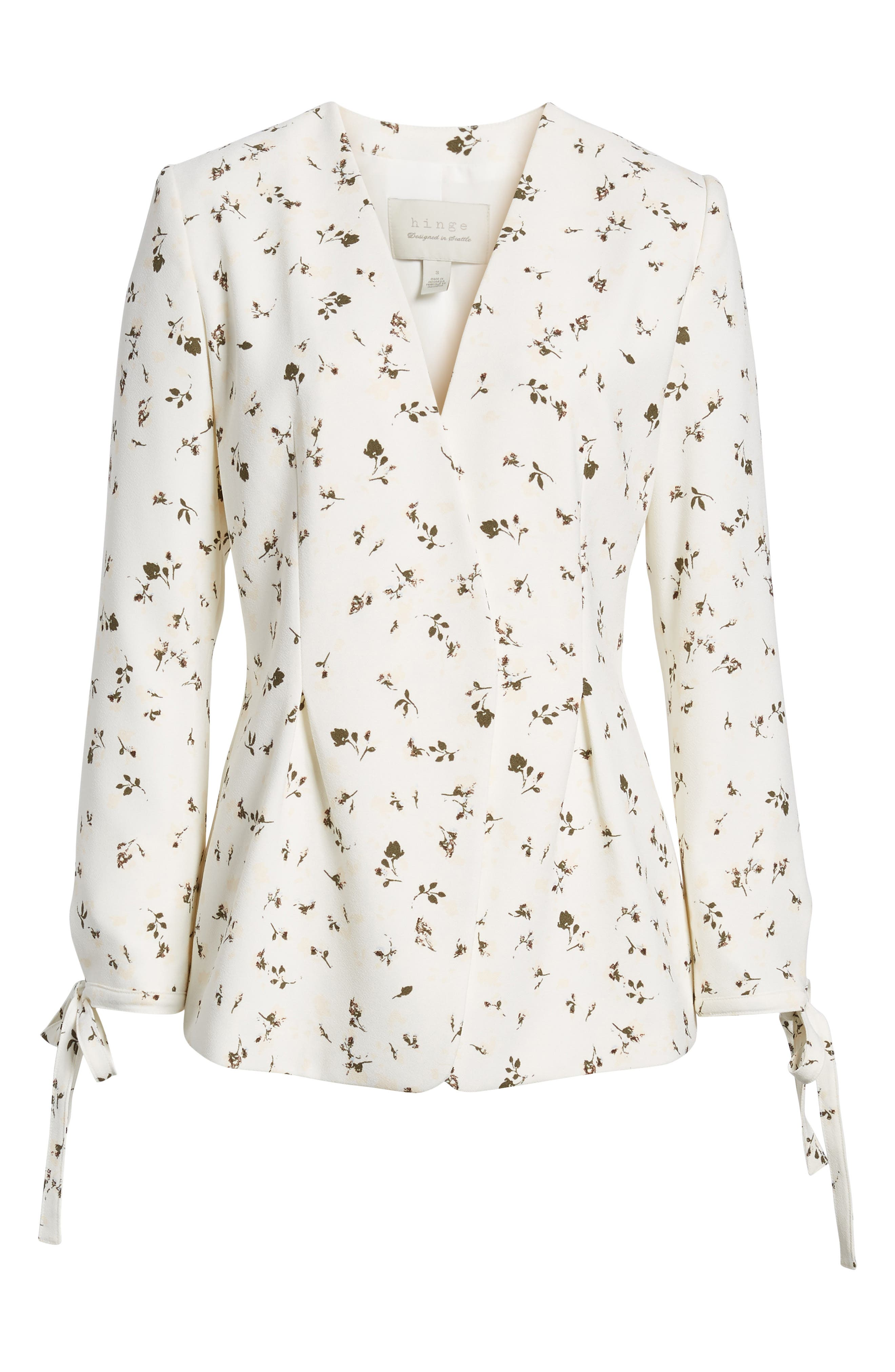Tie Sleeve Blazer,                             Alternate thumbnail 6, color,                             Ivory Cotton Floral