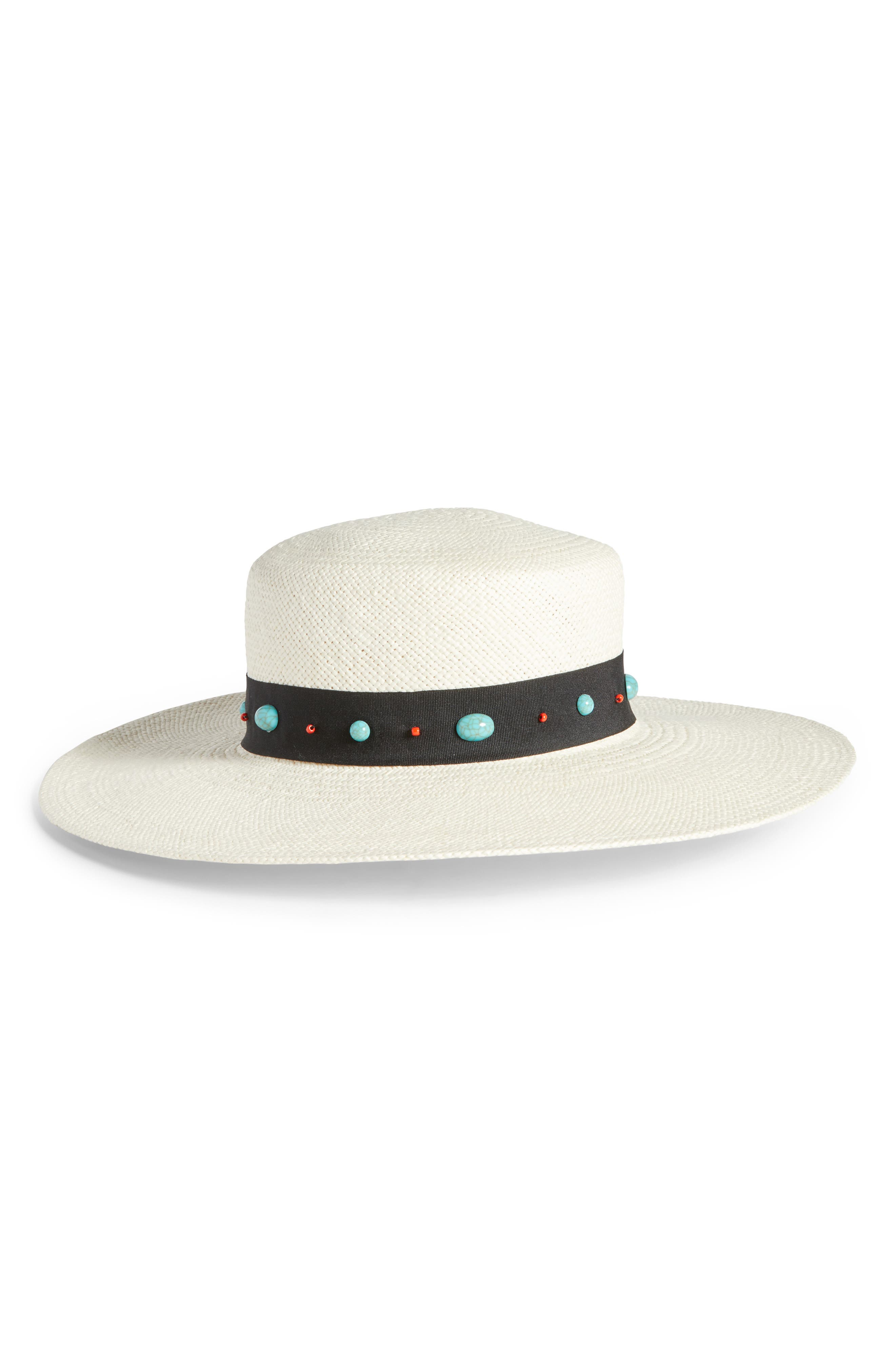 Western Straw Boater Hat,                         Main,                         color, Ivory