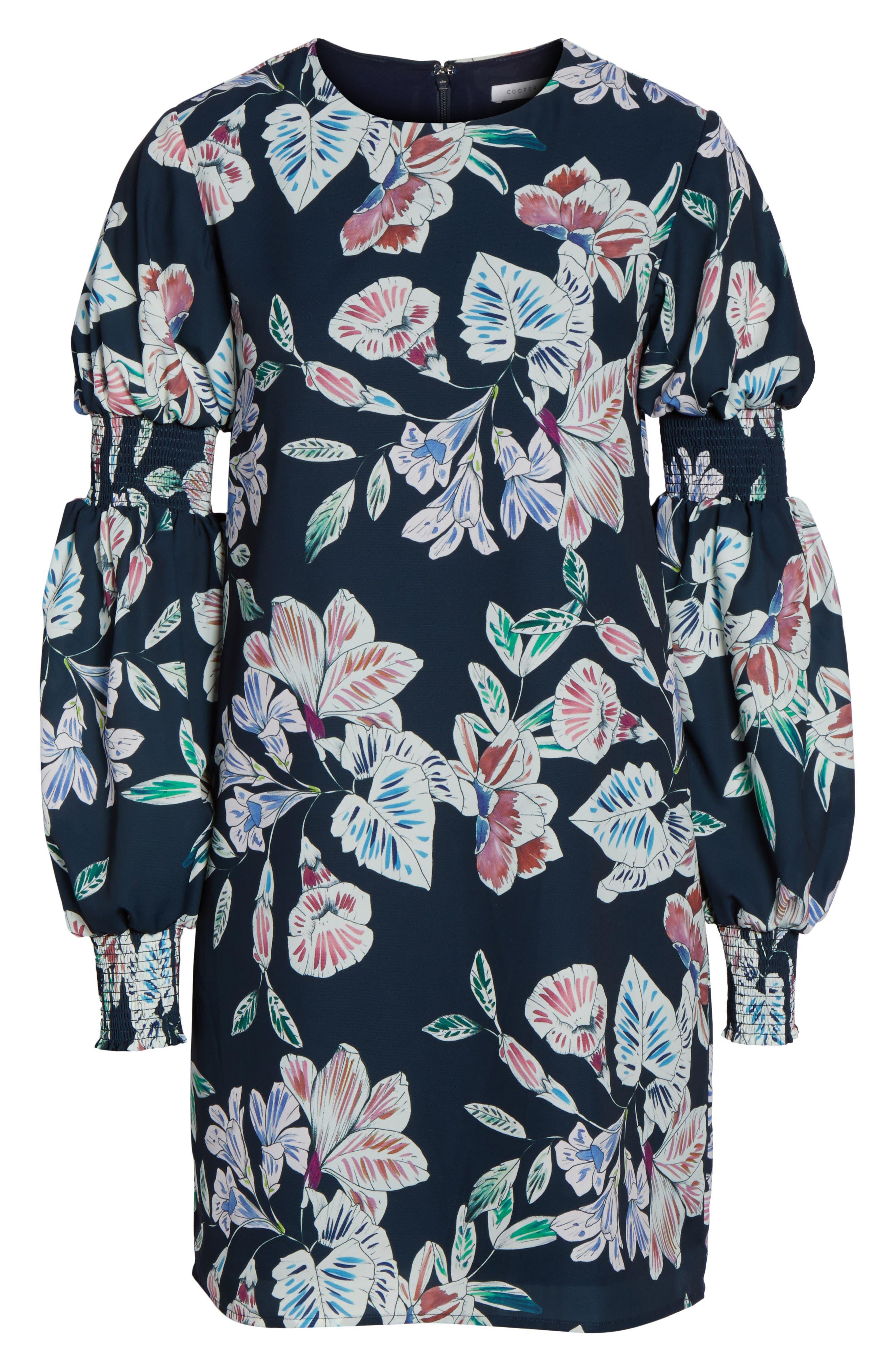 Alternate Image 6  - Cooper St Phantom Floral Smocked Sleeve Dress