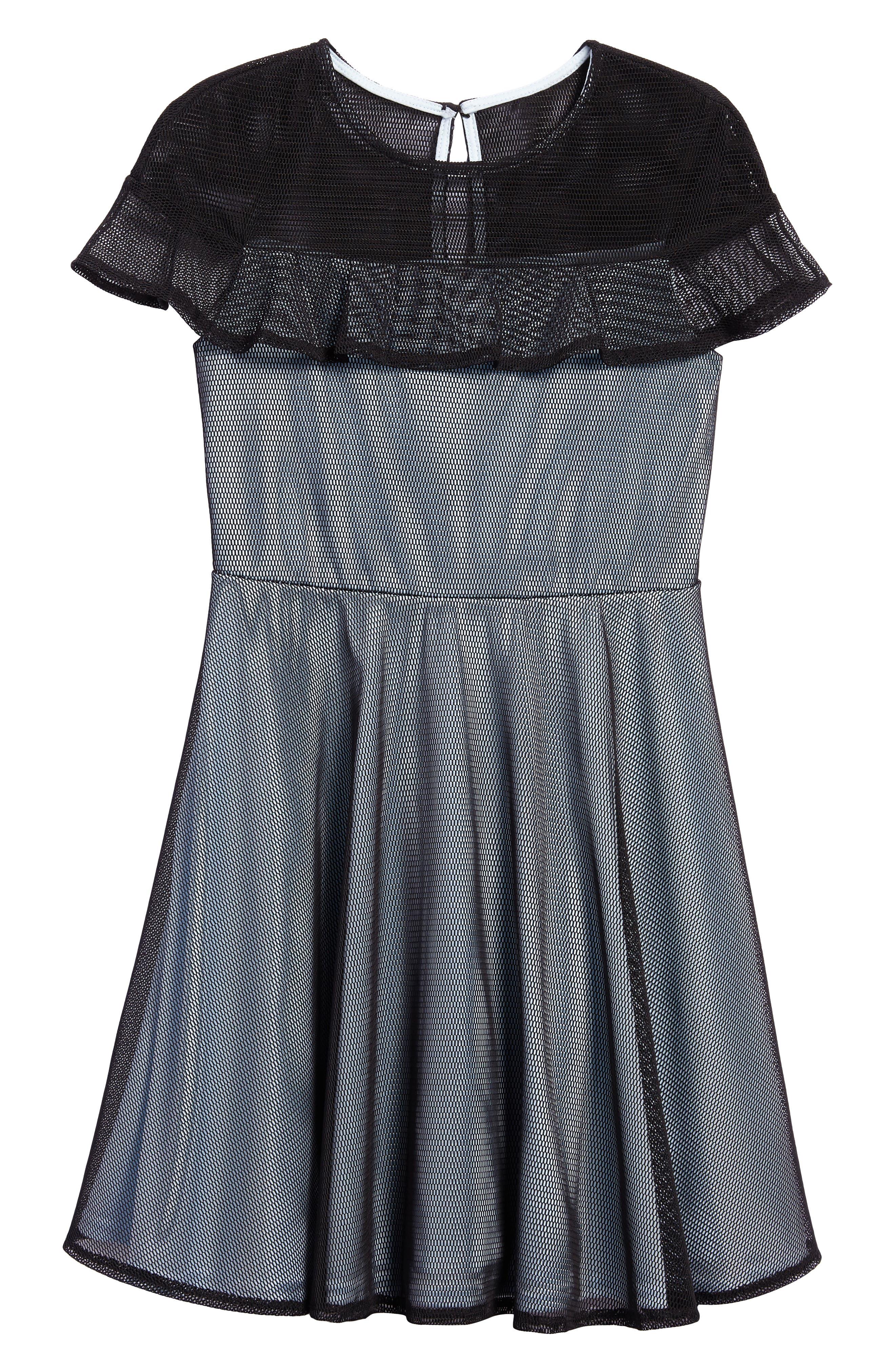 Ruffle Mesh Overlay Dress,                             Main thumbnail 1, color,                             Black