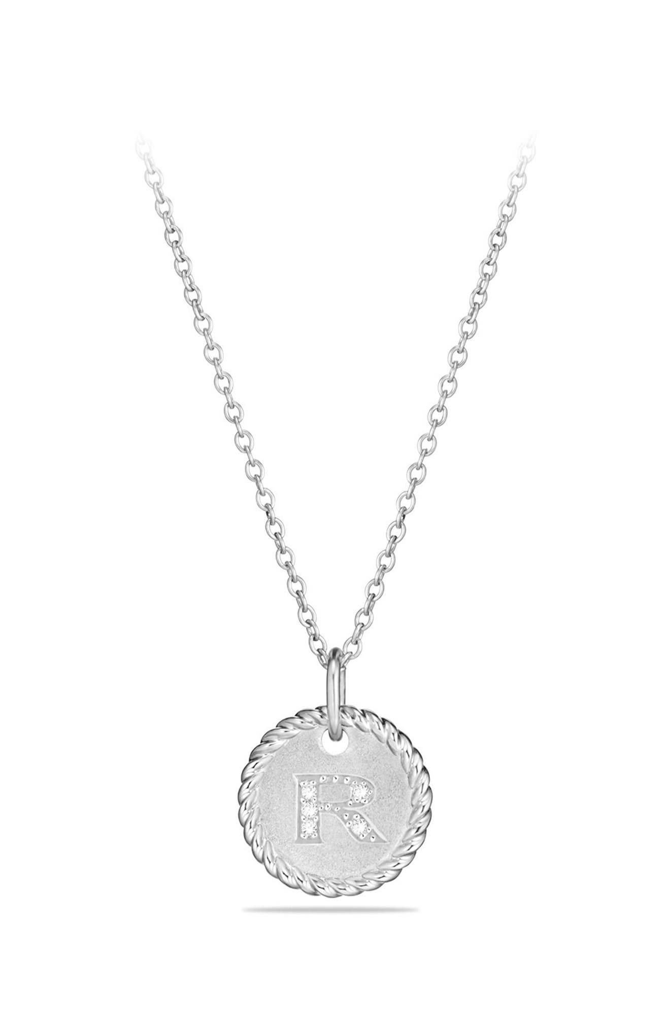 David Yurman Initial Charm Necklace with Diamonds in 18K White Gold