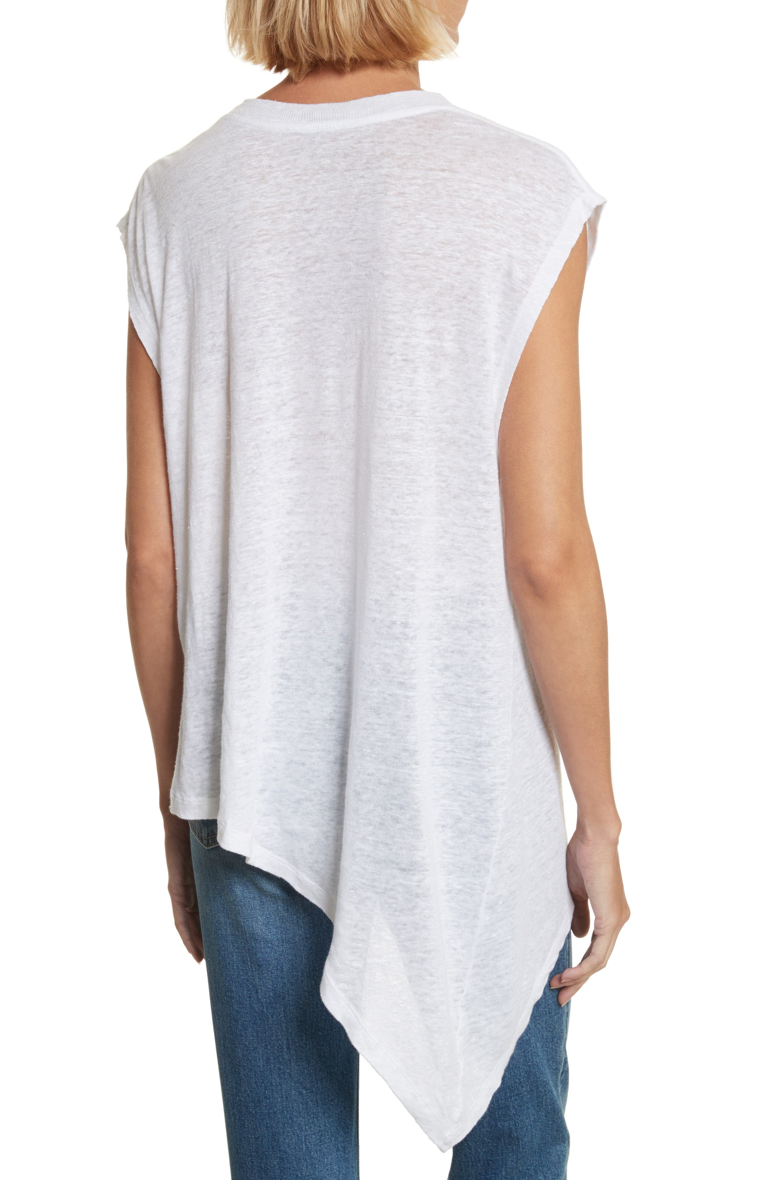 Karami Linen Asymmetrical Lace-Up Top,                             Alternate thumbnail 2, color,                             White