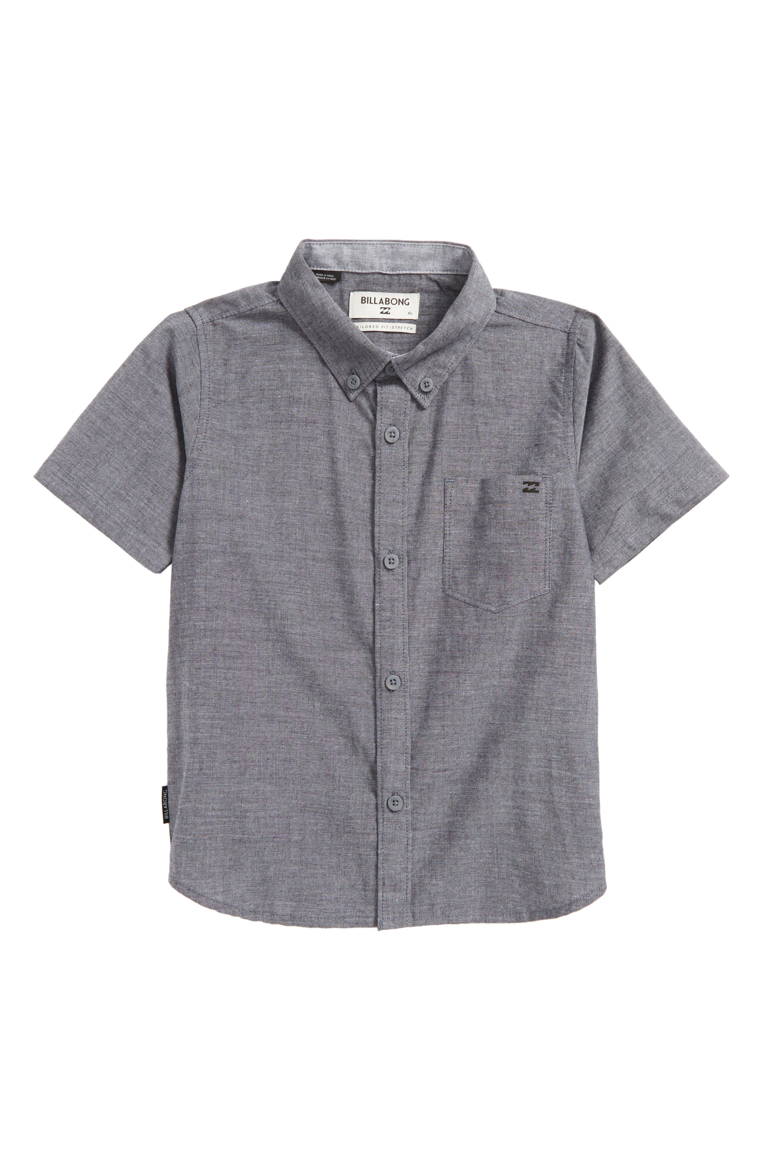 All Day Chambray Woven Shirt,                         Main,                         color, Black