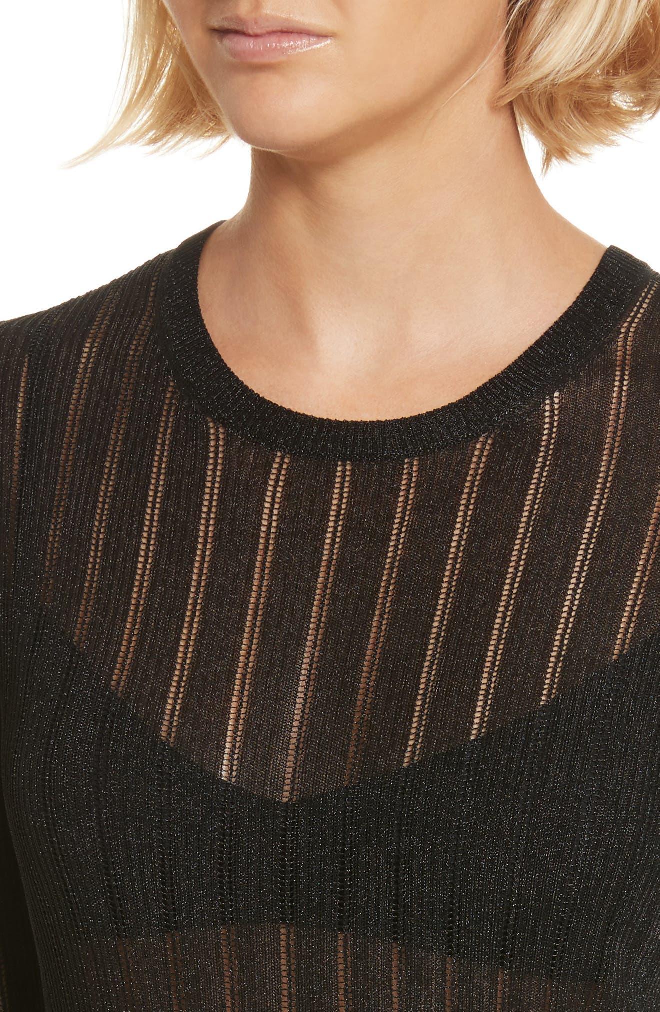 Skogkik Metallic Knit Top,                             Alternate thumbnail 4, color,                             Black