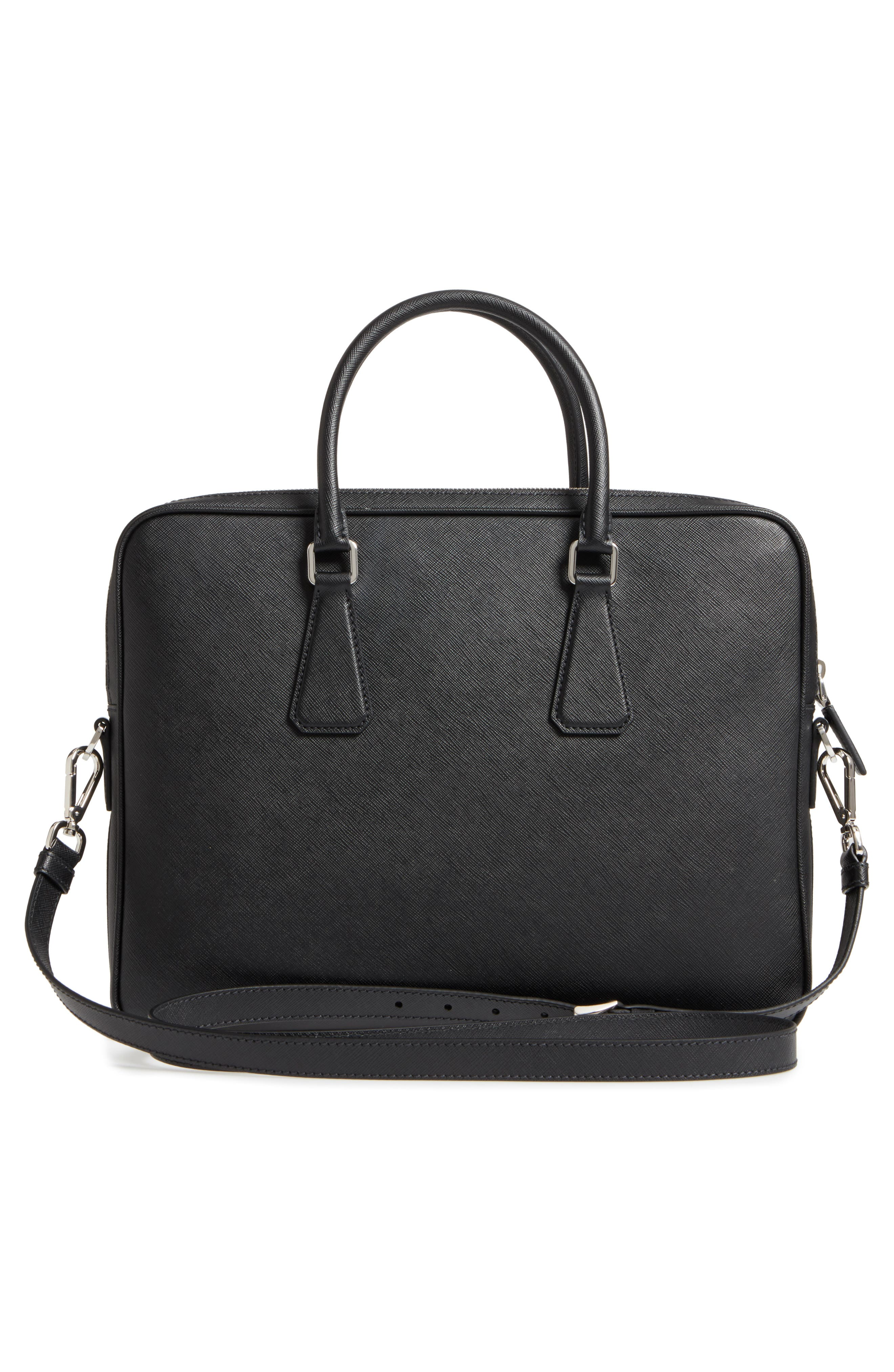 Saffiano Leather Briefcase,                             Alternate thumbnail 3, color,                             Black