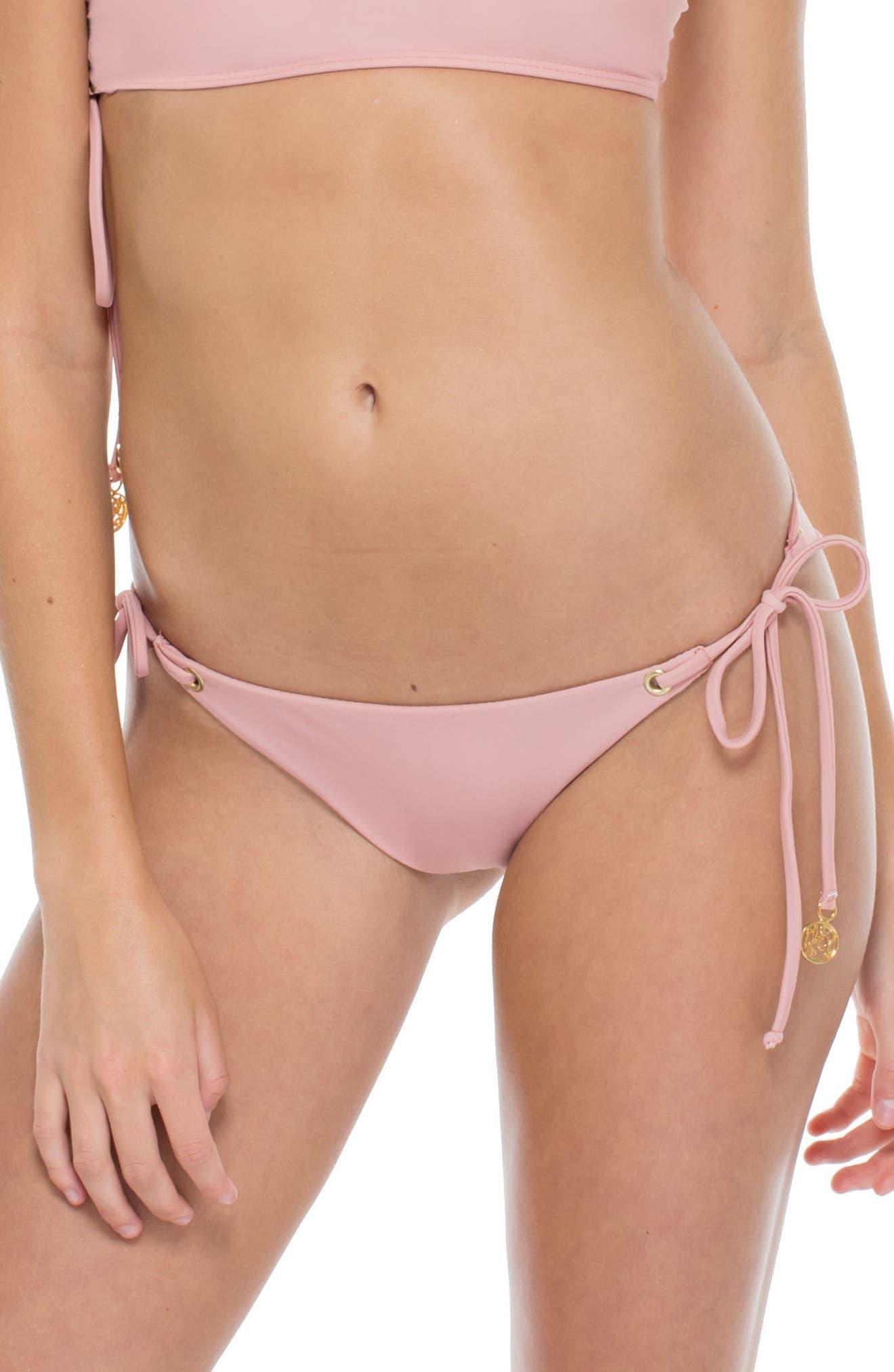 Seamless Side Tie Brazilian Bikini Bottoms,                             Alternate thumbnail 2, color,                             Rosa