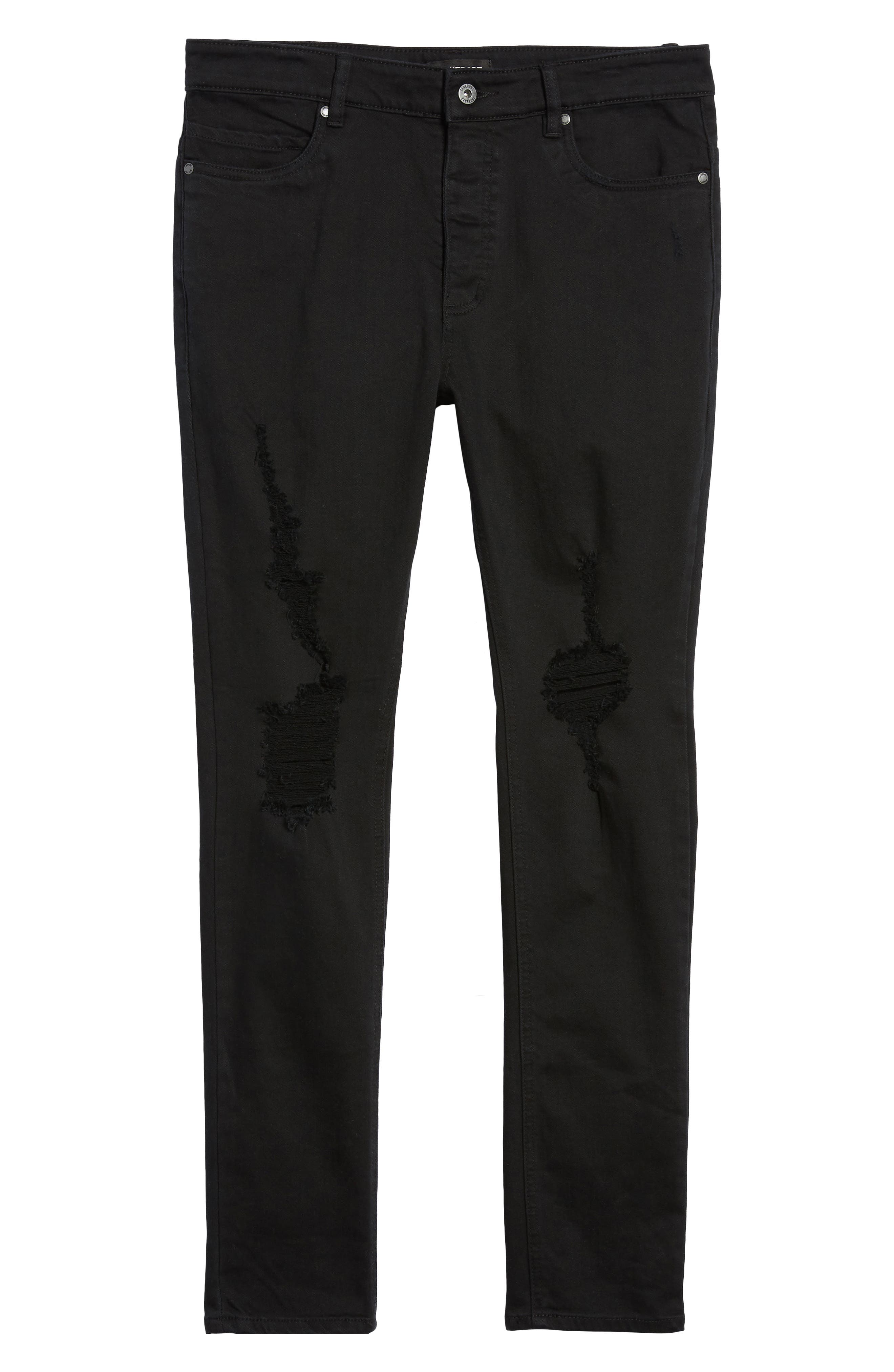 Joe Blow Destroyed Denim Jeans,                             Alternate thumbnail 6, color,                             Black Shred