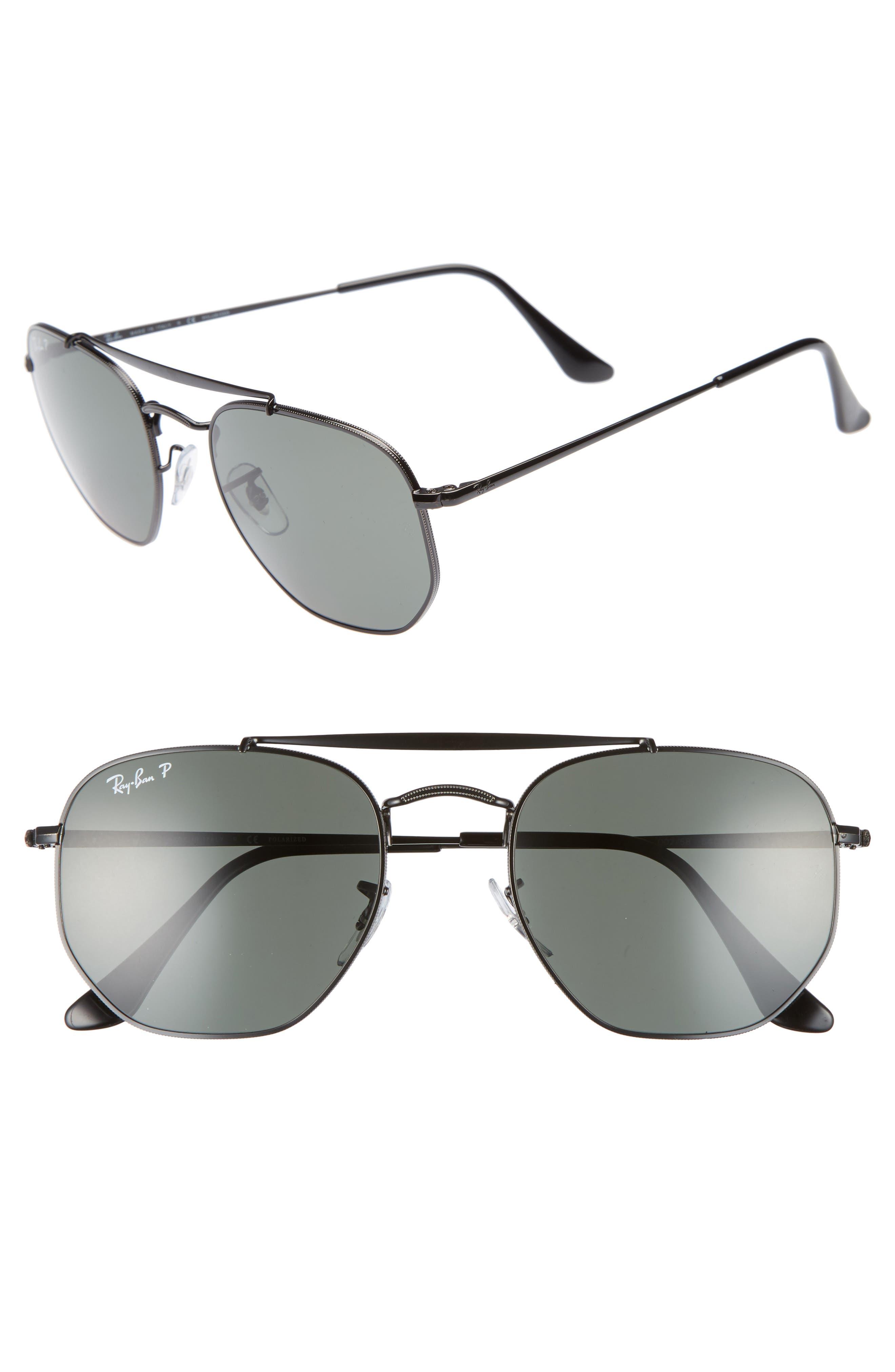 Marshal 54mm Polarized Aviator Sunglasses,                         Main,                         color, Black Polarized