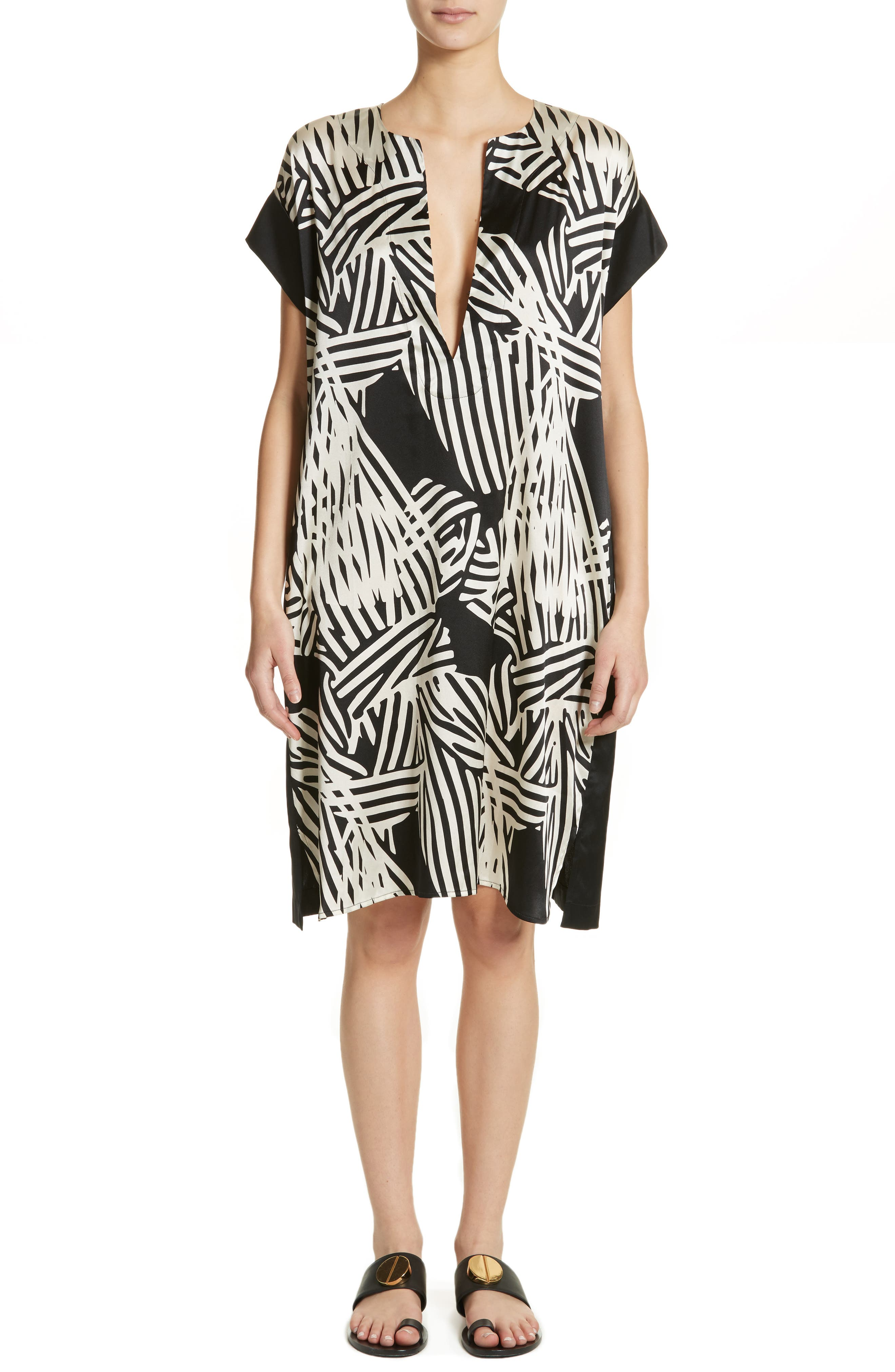 Bow Print Silk Blend Dress,                         Main,                         color, Black