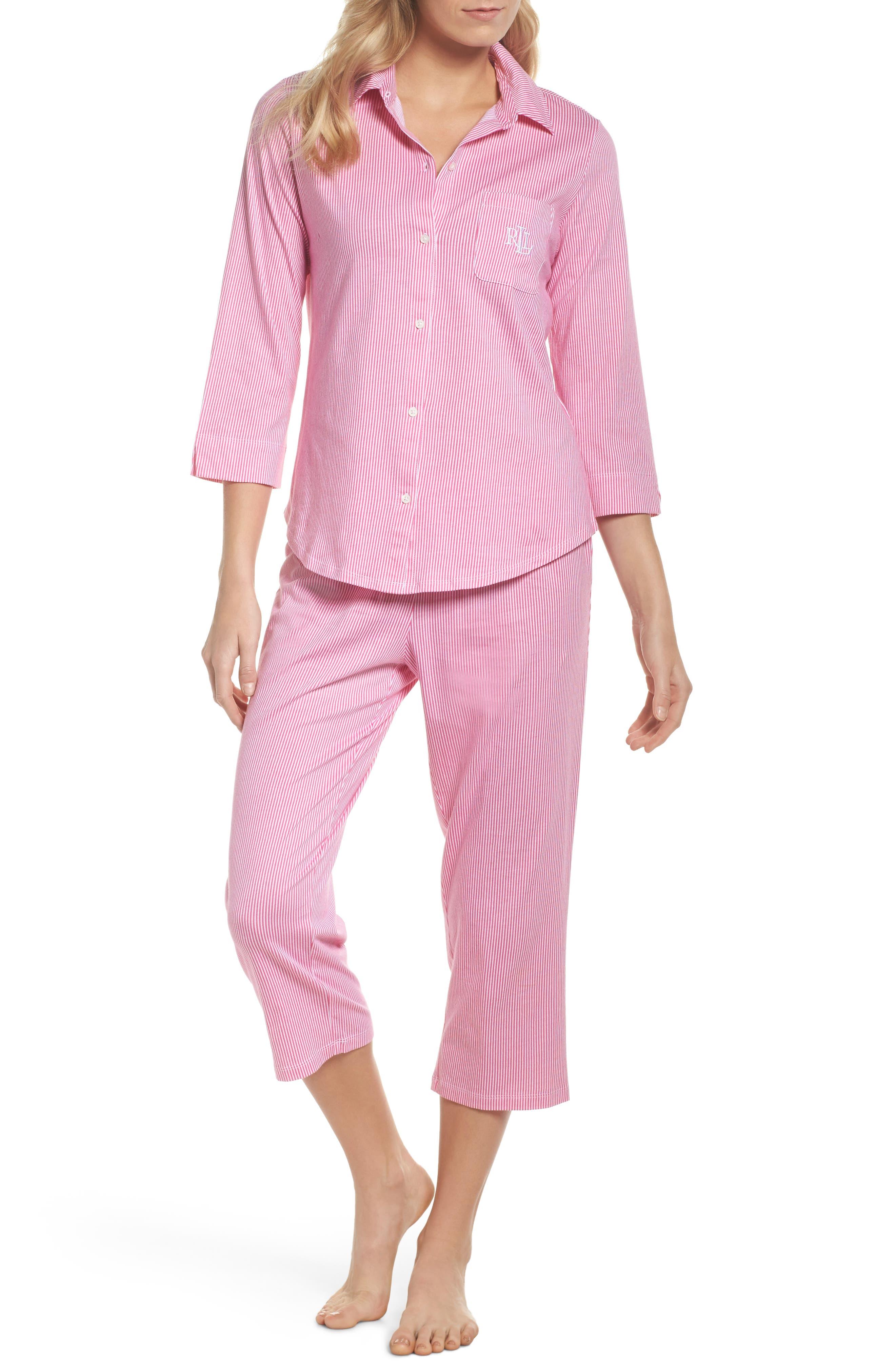 Crop Pajamas,                         Main,                         color, Pink Stripe