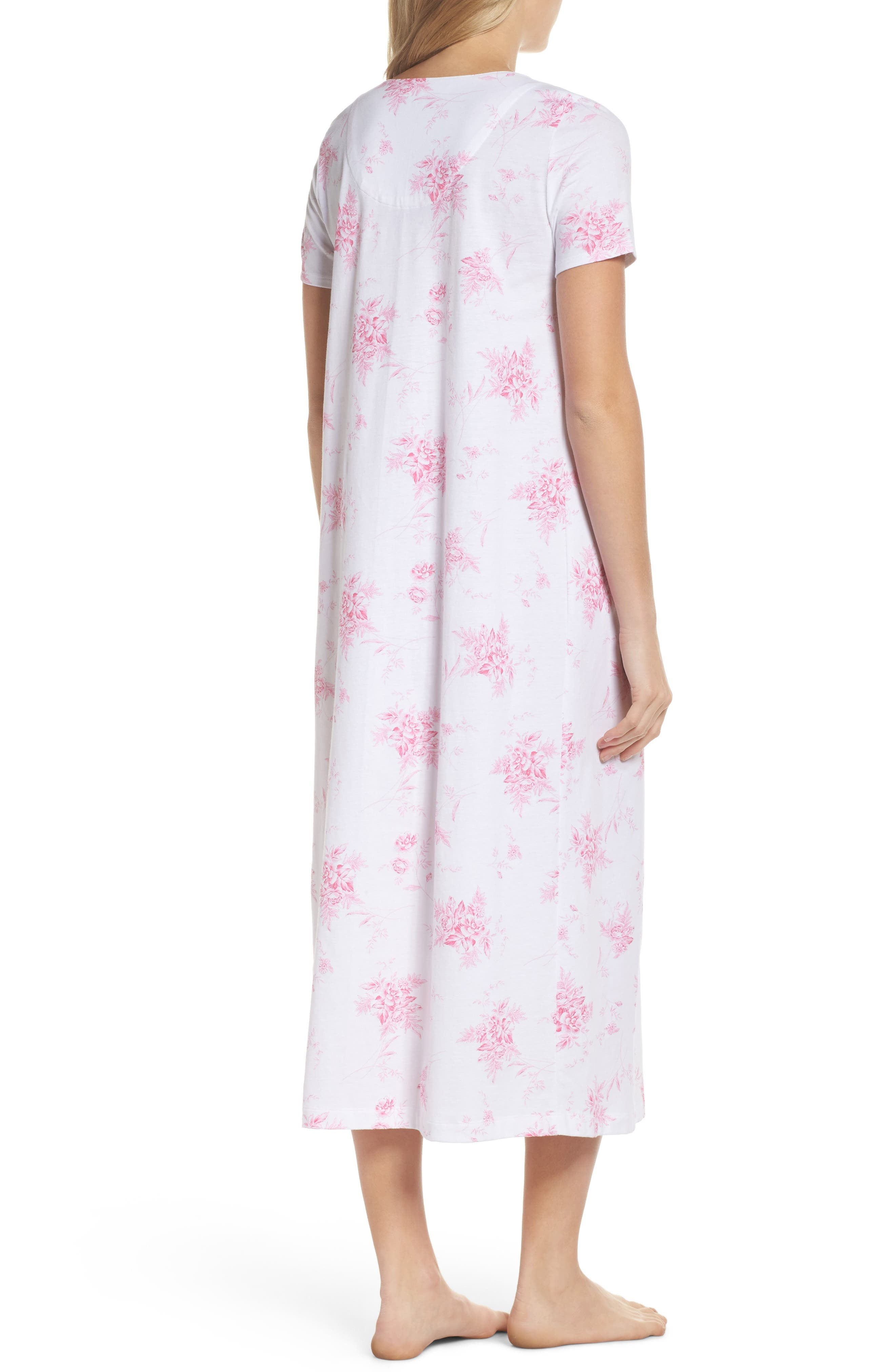 Cotton Jersey Long Nightgown,                             Alternate thumbnail 3, color,                             Bouquet Swing
