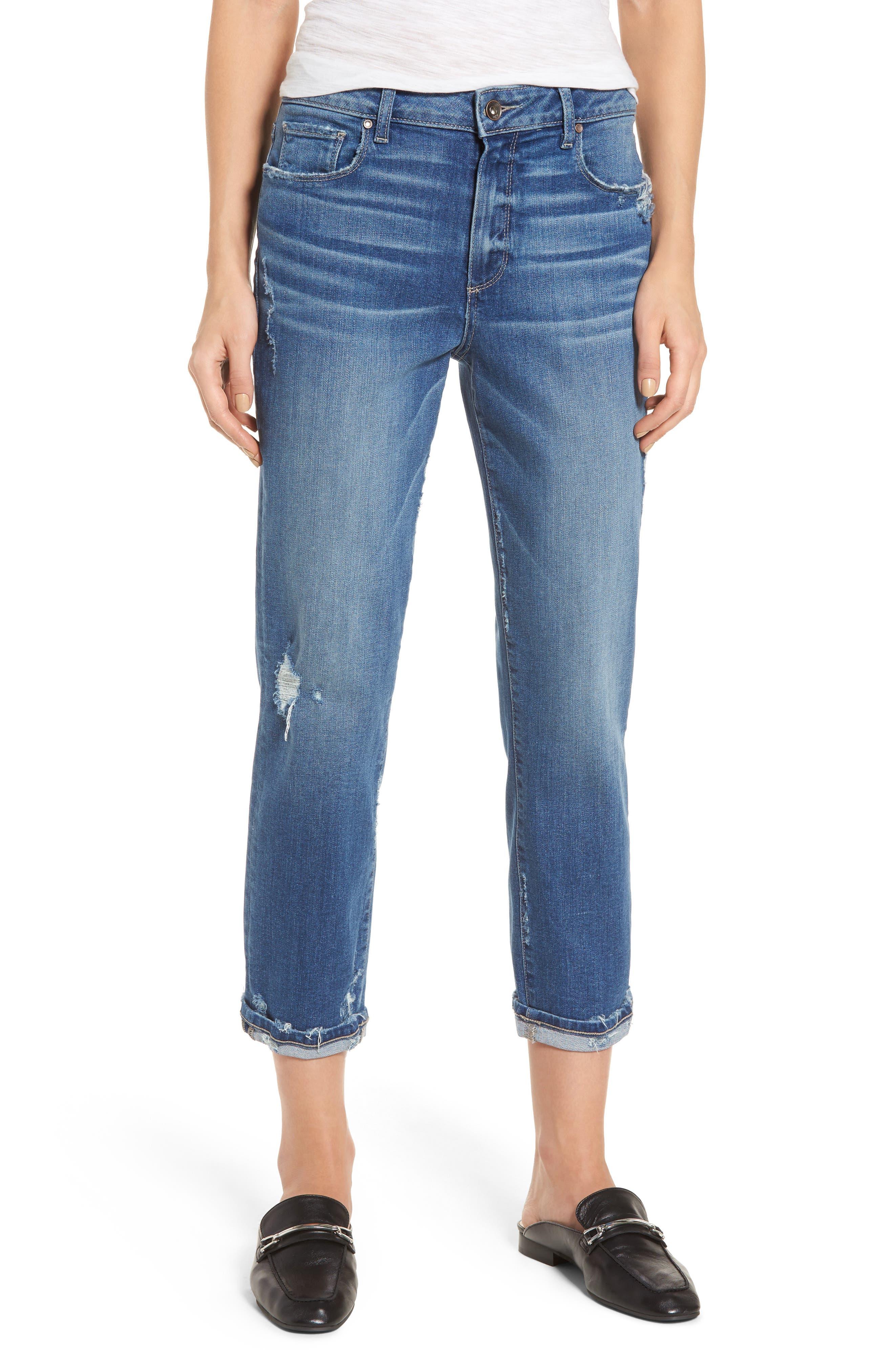 PAIGE Jimmy Jimmy High Waist Crop Boyfriend Jeans (Ludlow Destructed)