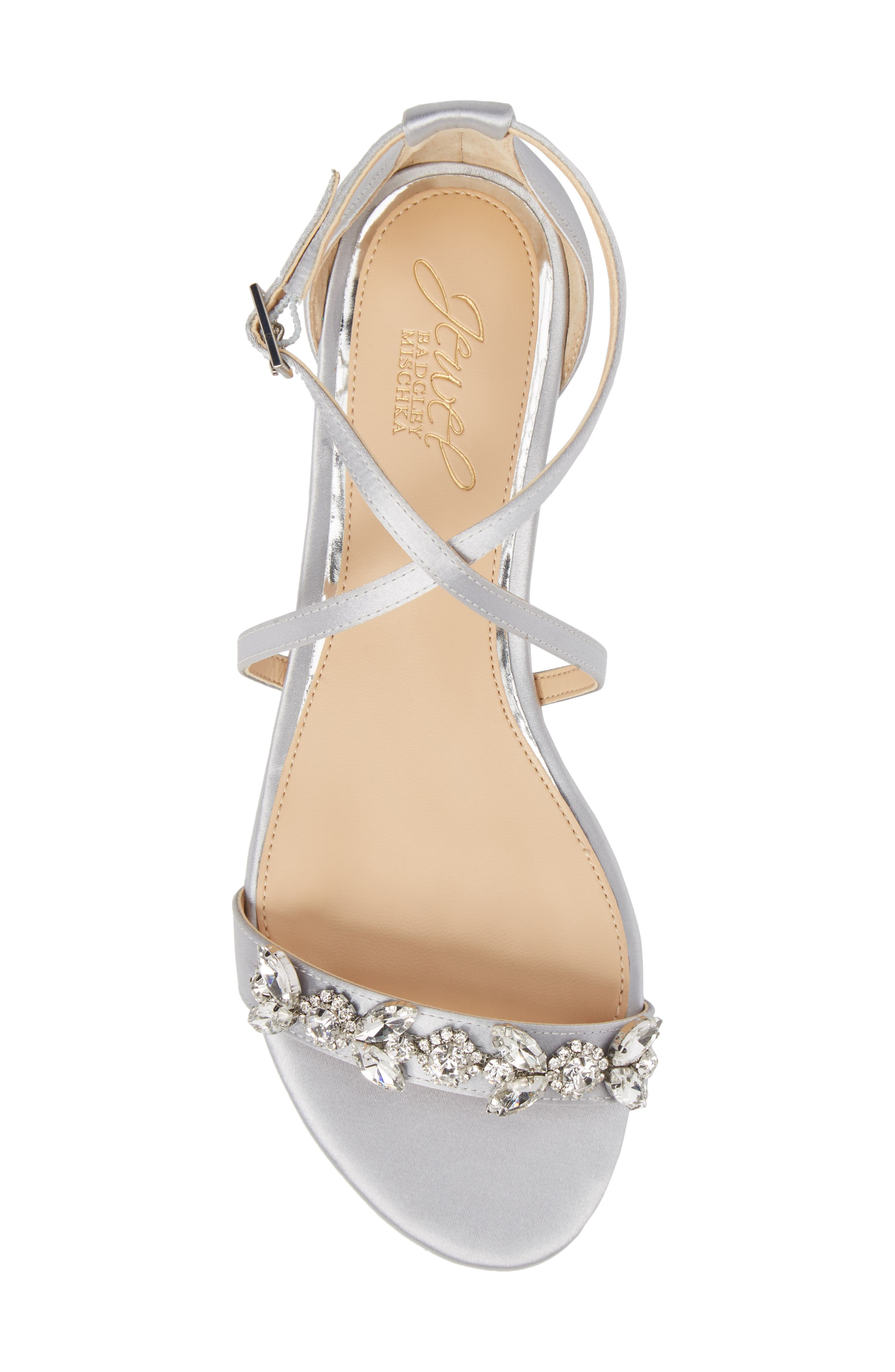 Tessy Embellished Sandal,                             Alternate thumbnail 5, color,                             Silver Satin