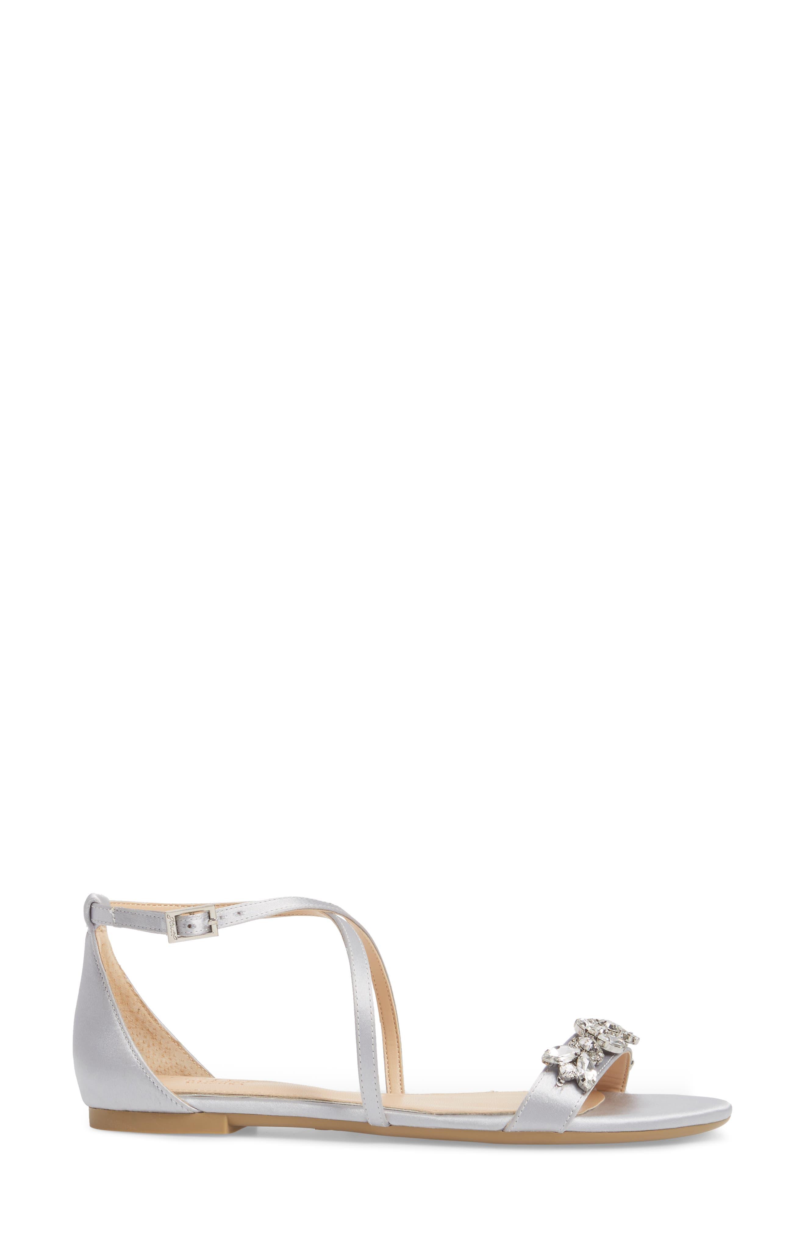 Tessy Embellished Sandal,                             Alternate thumbnail 3, color,                             Silver Satin