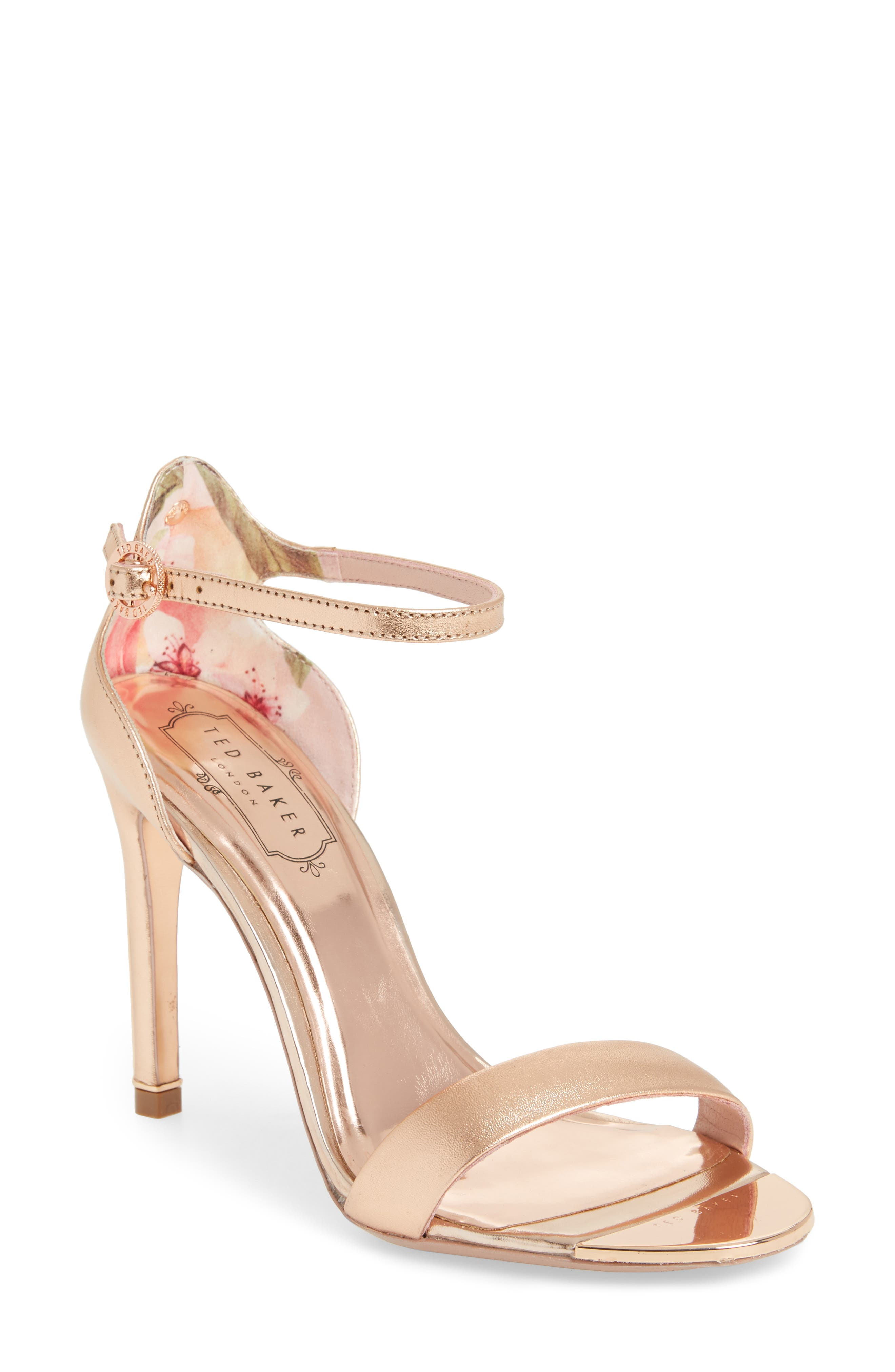 Sharlot Ankle Strap Sandal,                             Main thumbnail 1, color,                             Rose Gold Leather