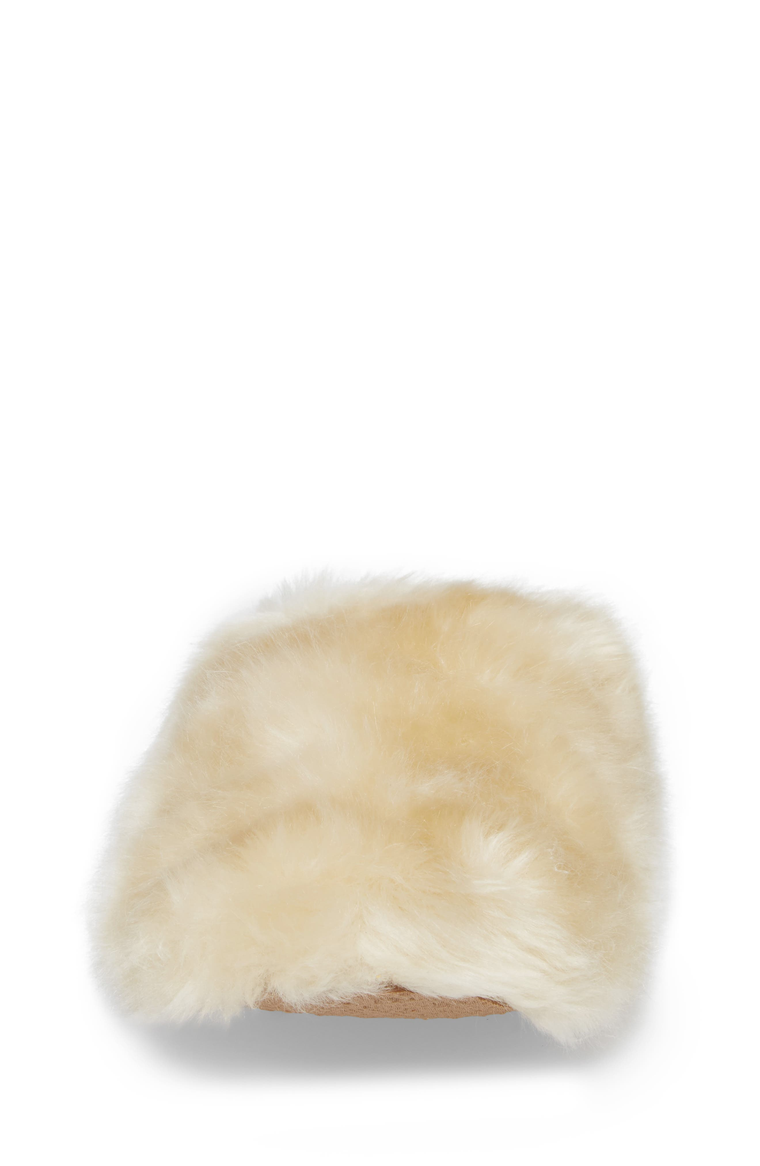 Faux Fur Slipper,                             Alternate thumbnail 4, color,                             Natural