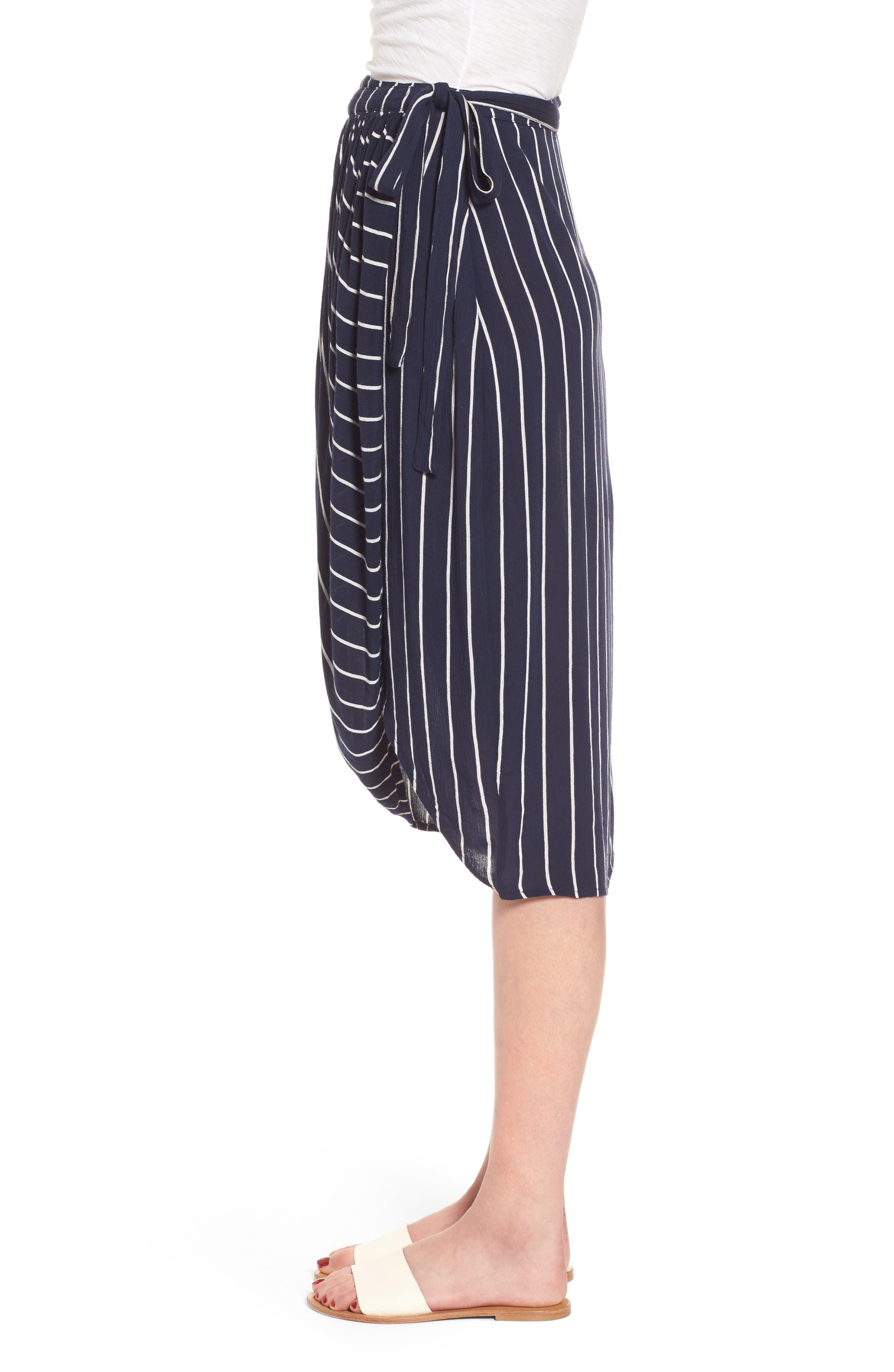 So Right Stripe Faux Wrap Skirt,                             Alternate thumbnail 4, color,                             Deep Sea