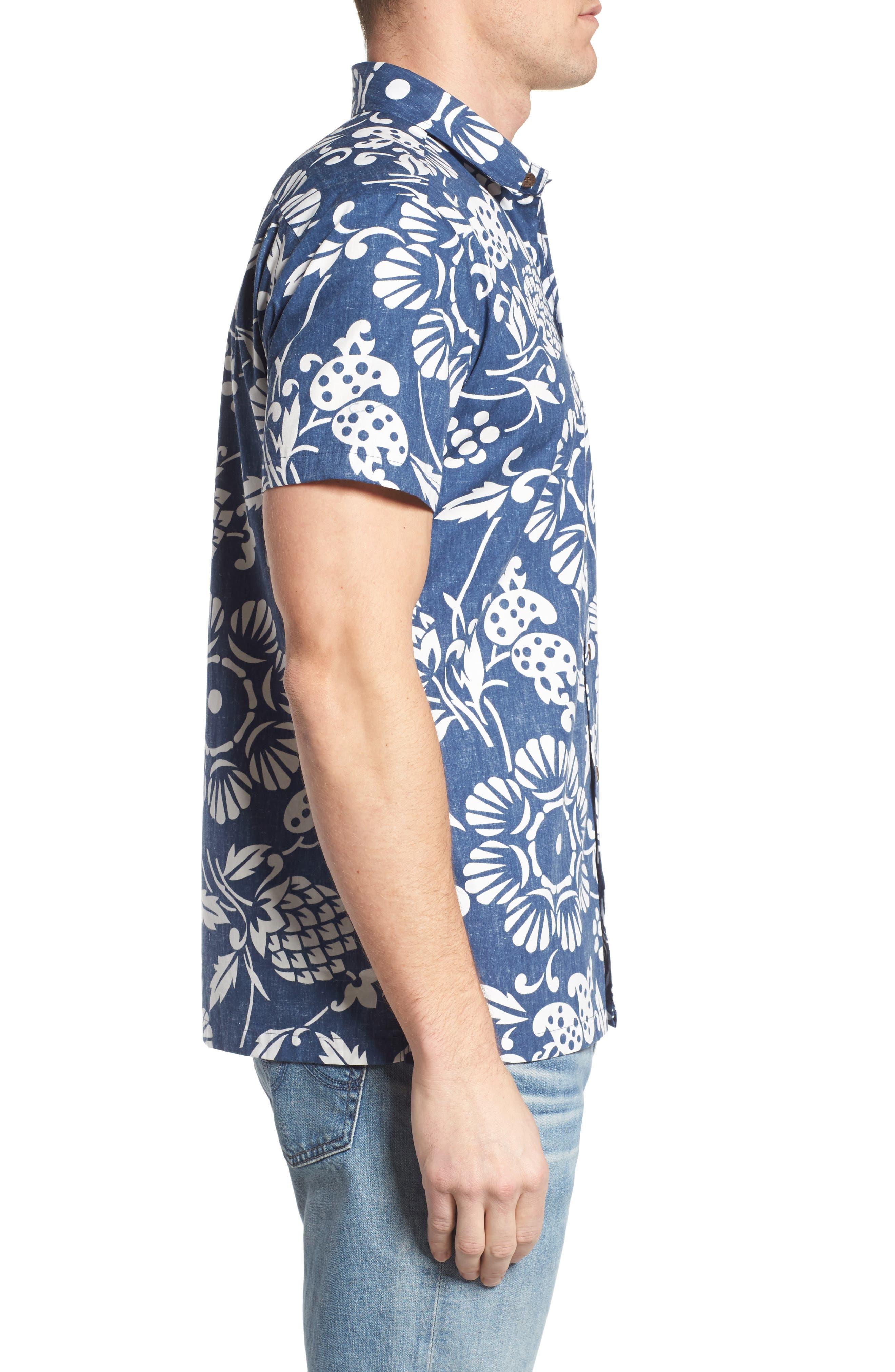 Duke's Pareo Trim Fit Sport Shirt,                             Alternate thumbnail 3, color,                             Navy