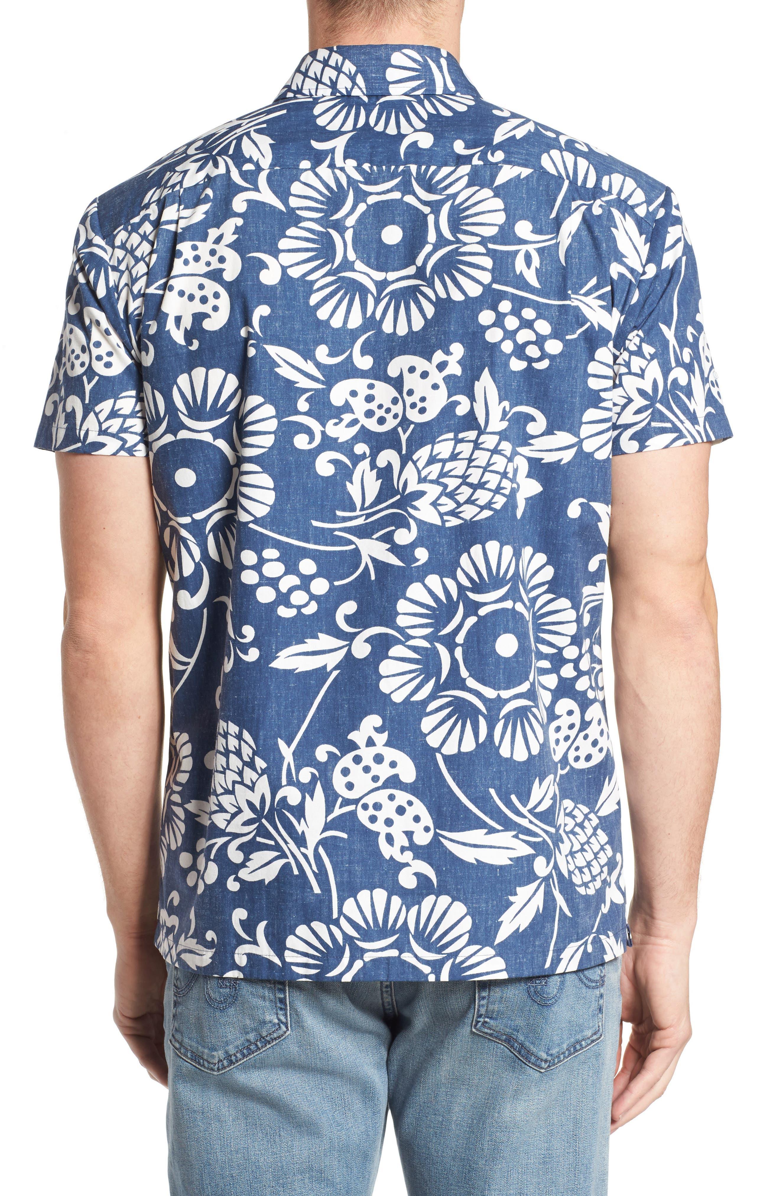 Duke's Pareo Trim Fit Sport Shirt,                             Alternate thumbnail 2, color,                             Navy
