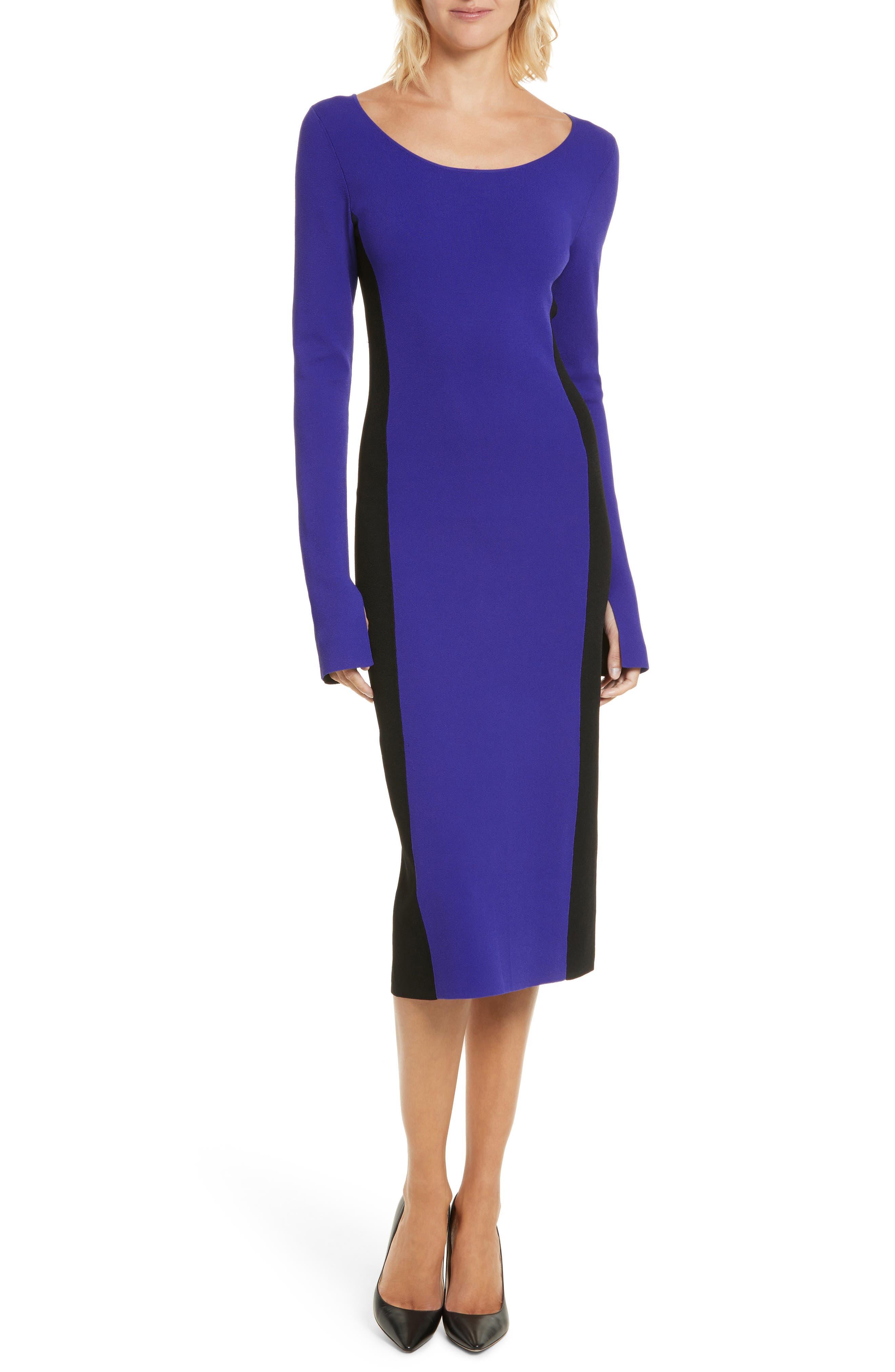 Colorblock Knit Body-Con Dress,                             Main thumbnail 1, color,                             Electric Blue/ Black