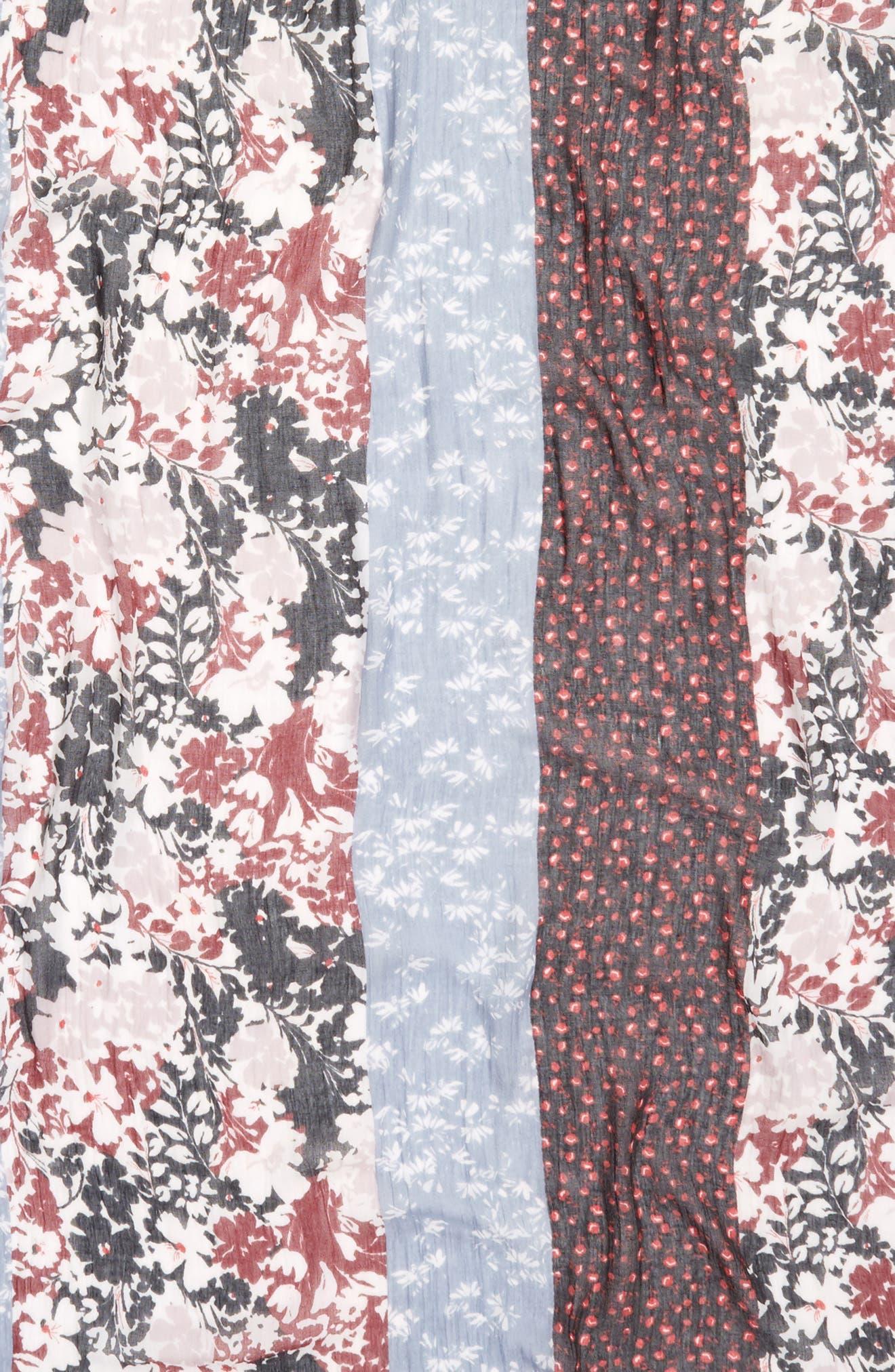 Tassel Trim Printed Wrap,                             Alternate thumbnail 4, color,                             Black Floral Romance Print