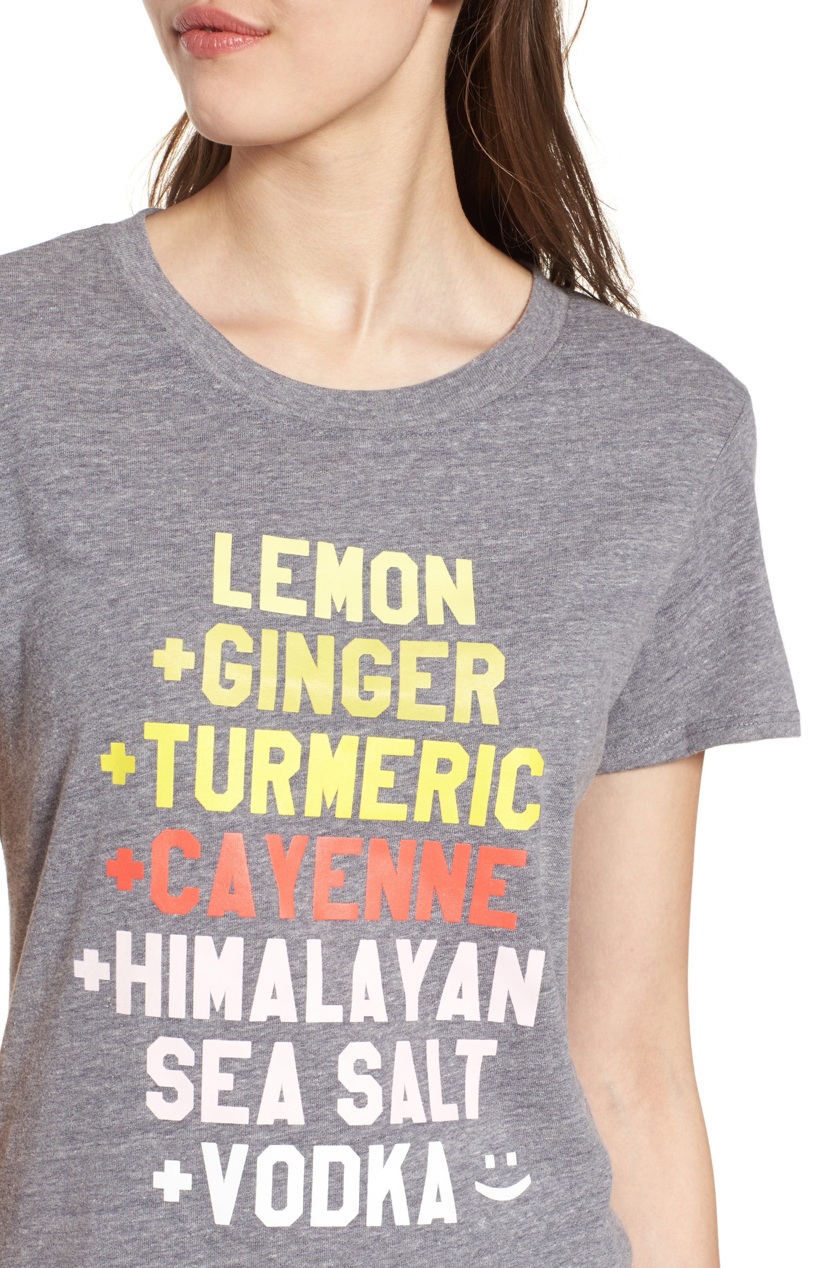 Lemon Ginger Loose Tee,                             Alternate thumbnail 4, color,                             Heather Grey